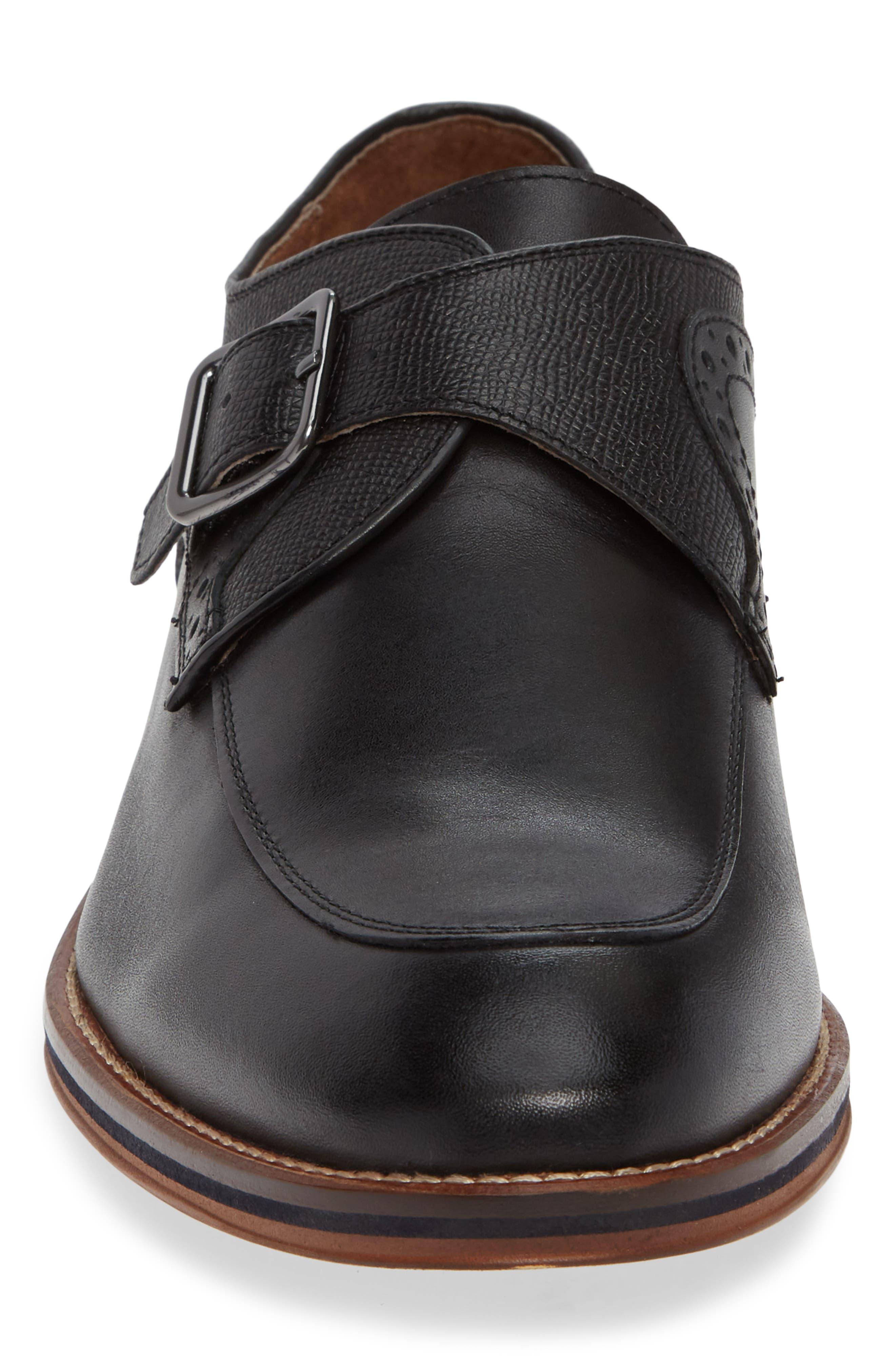 JOHNSTON & MURPHY, Conard Monk Strap Shoe, Alternate thumbnail 4, color, BLACK LEATHER