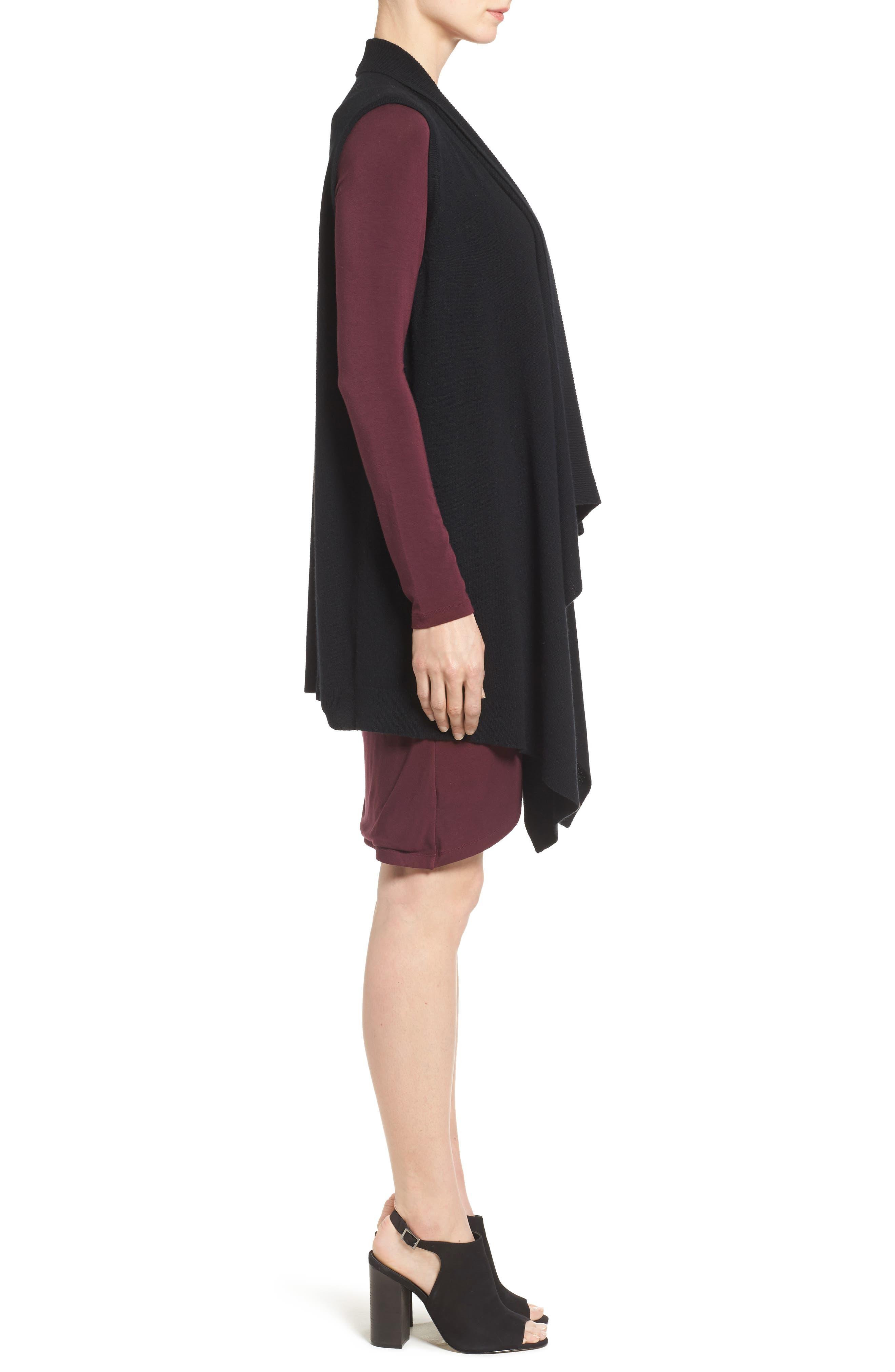 HALOGEN<SUP>®</SUP>, Wool & Cashmere Drape Front Sweater Vest, Alternate thumbnail 3, color, BLACK