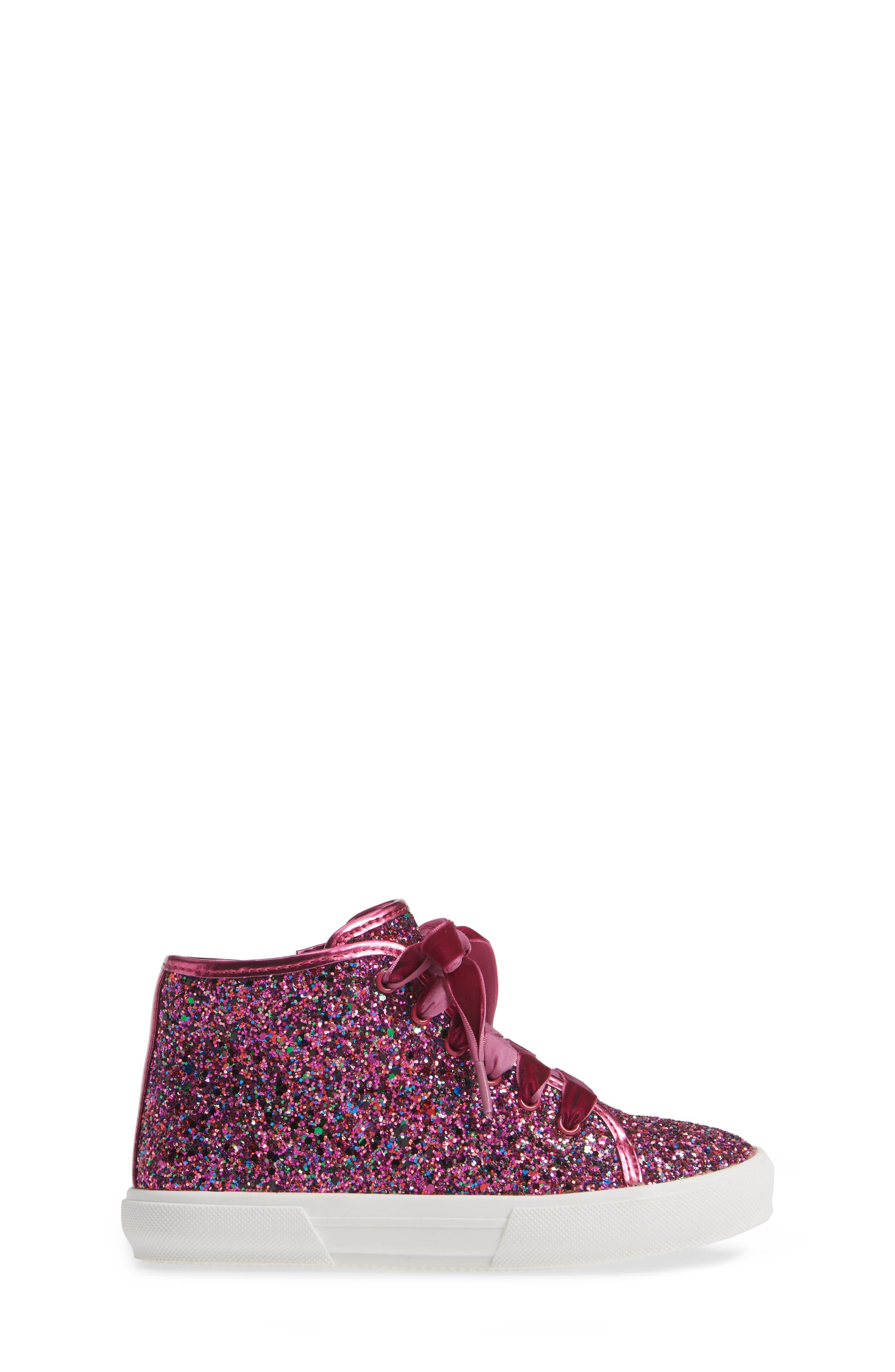 TUCKER + TATE, Skylar Glitter Sneaker, Alternate thumbnail 3, color, FUSCHIA MULTI GLITTER PU