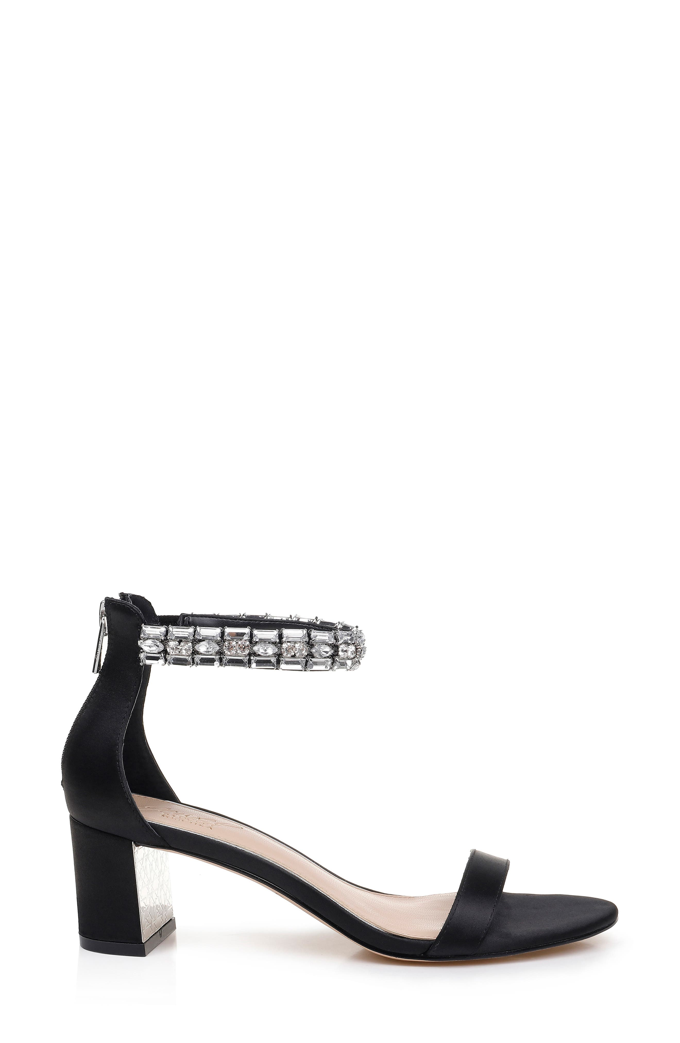 JEWEL BADGLEY MISCHKA, Katerina Ankle Strap Sandal, Alternate thumbnail 3, color, BLACK CRYSTAL SATIN