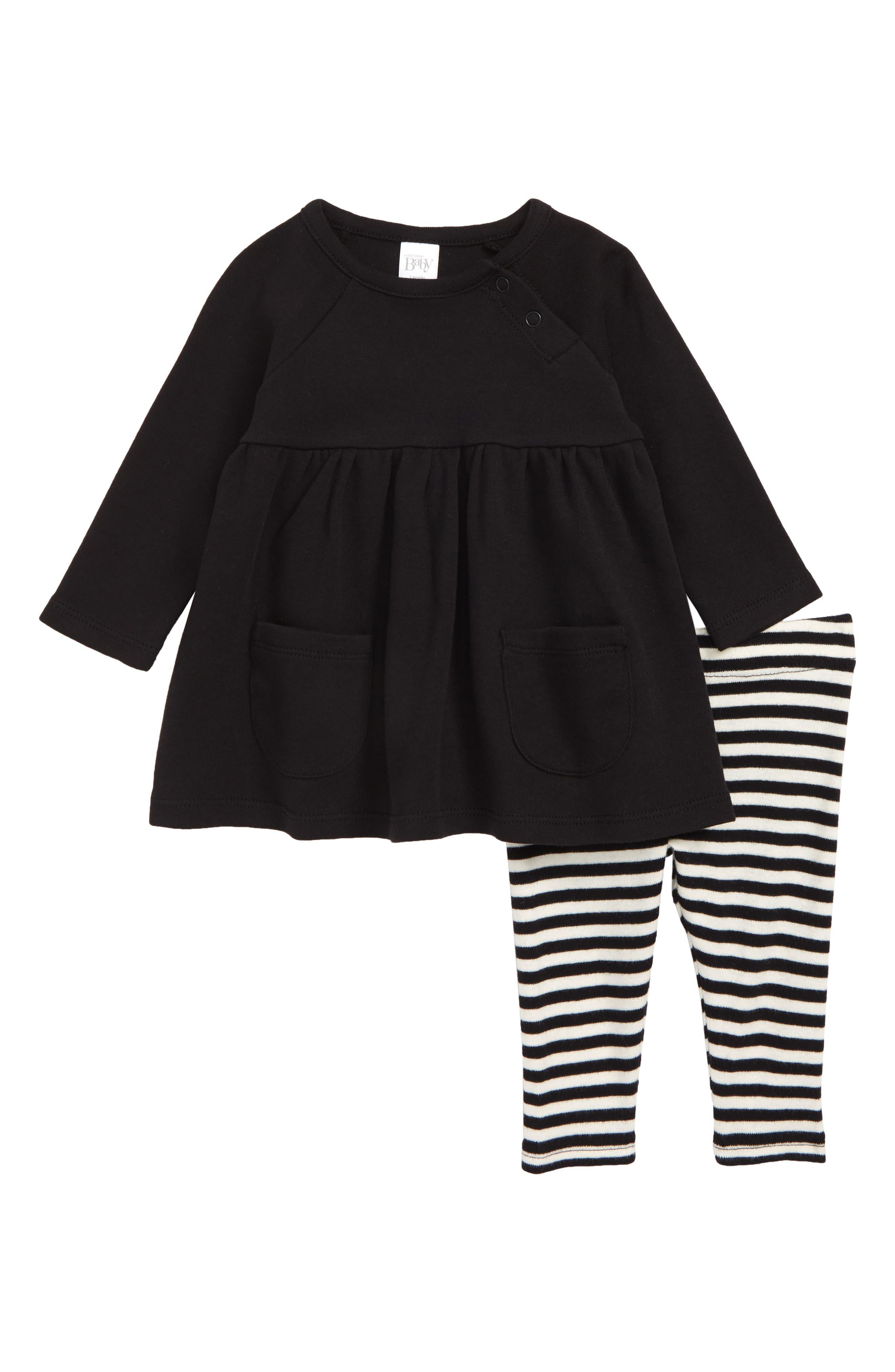 NORDSTROM BABY, Pocket Dress & Leggings Set, Main thumbnail 1, color, BLACK