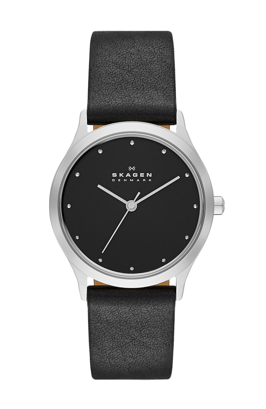 SKAGEN, 'Jorn' Leather Strap Watch, 30mm, Main thumbnail 1, color, 001