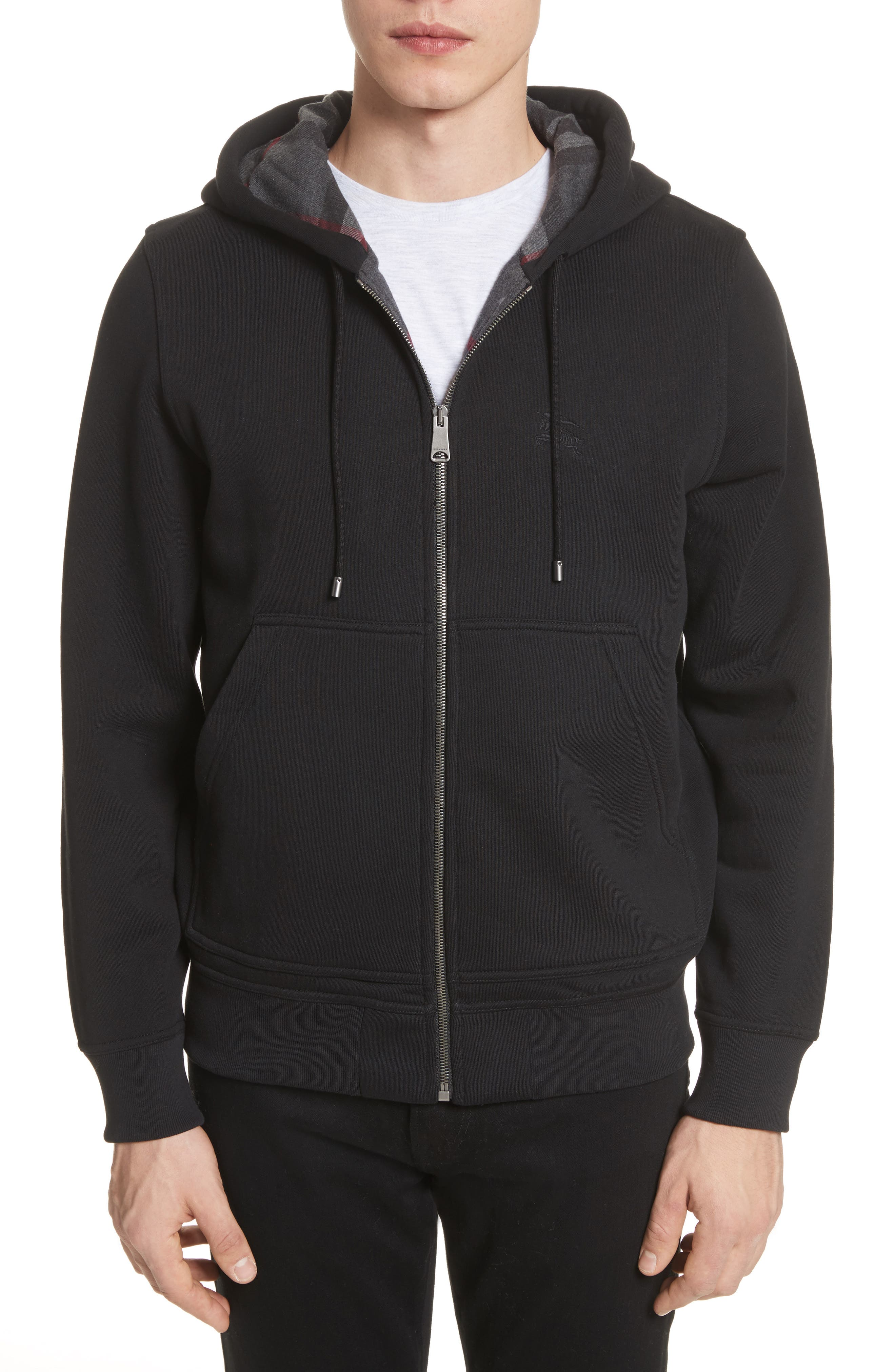 BURBERRY, Fordson Fleece Hoodie, Main thumbnail 1, color, BLACK