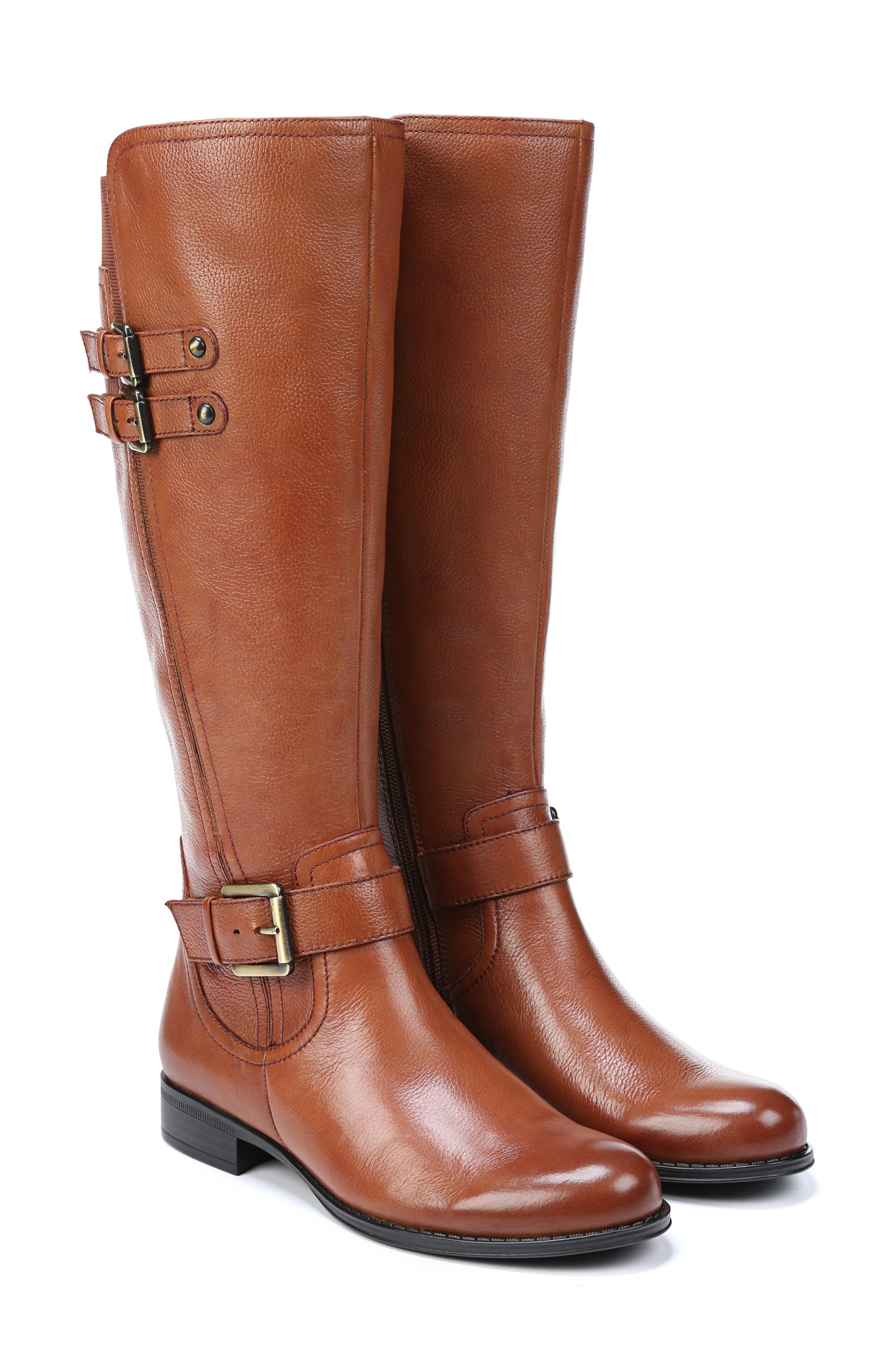 NATURALIZER, Jessie Knee High Riding Boot, Alternate thumbnail 9, color, BANANA BREAD LEATHER