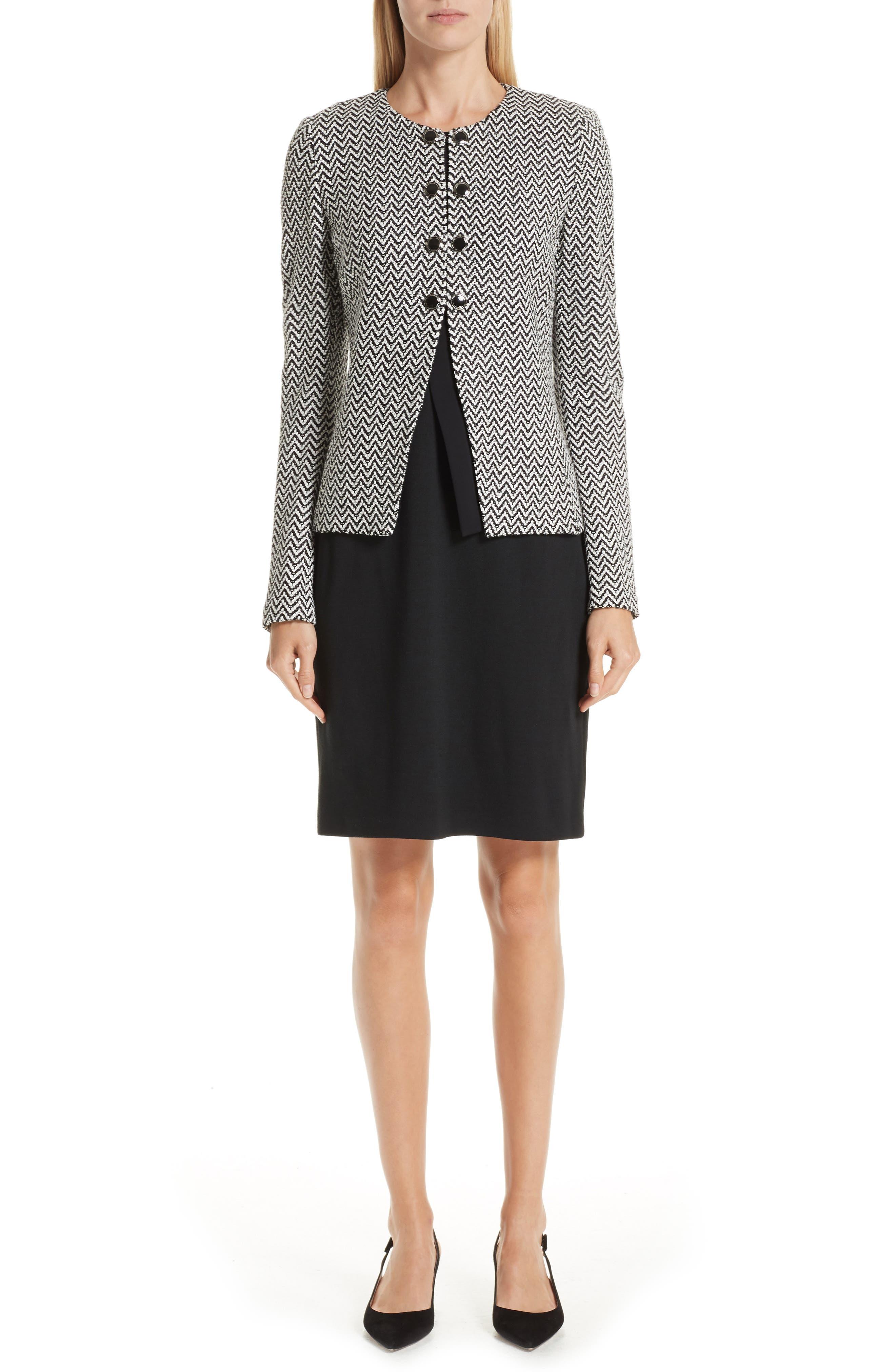 ST. JOHN COLLECTION, Milano Knit Sheath Dress, Alternate thumbnail 8, color, CAVIAR
