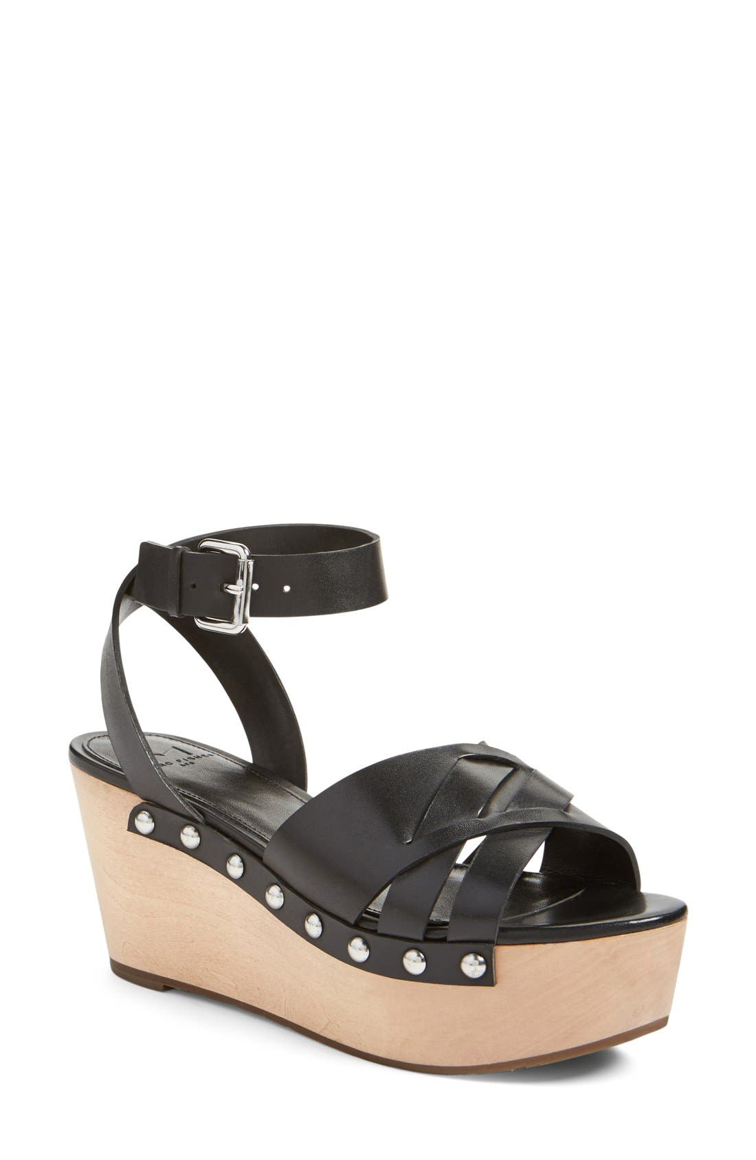 MARC FISHER LTD, 'Camilla' Wedge Sandal, Main thumbnail 1, color, 001