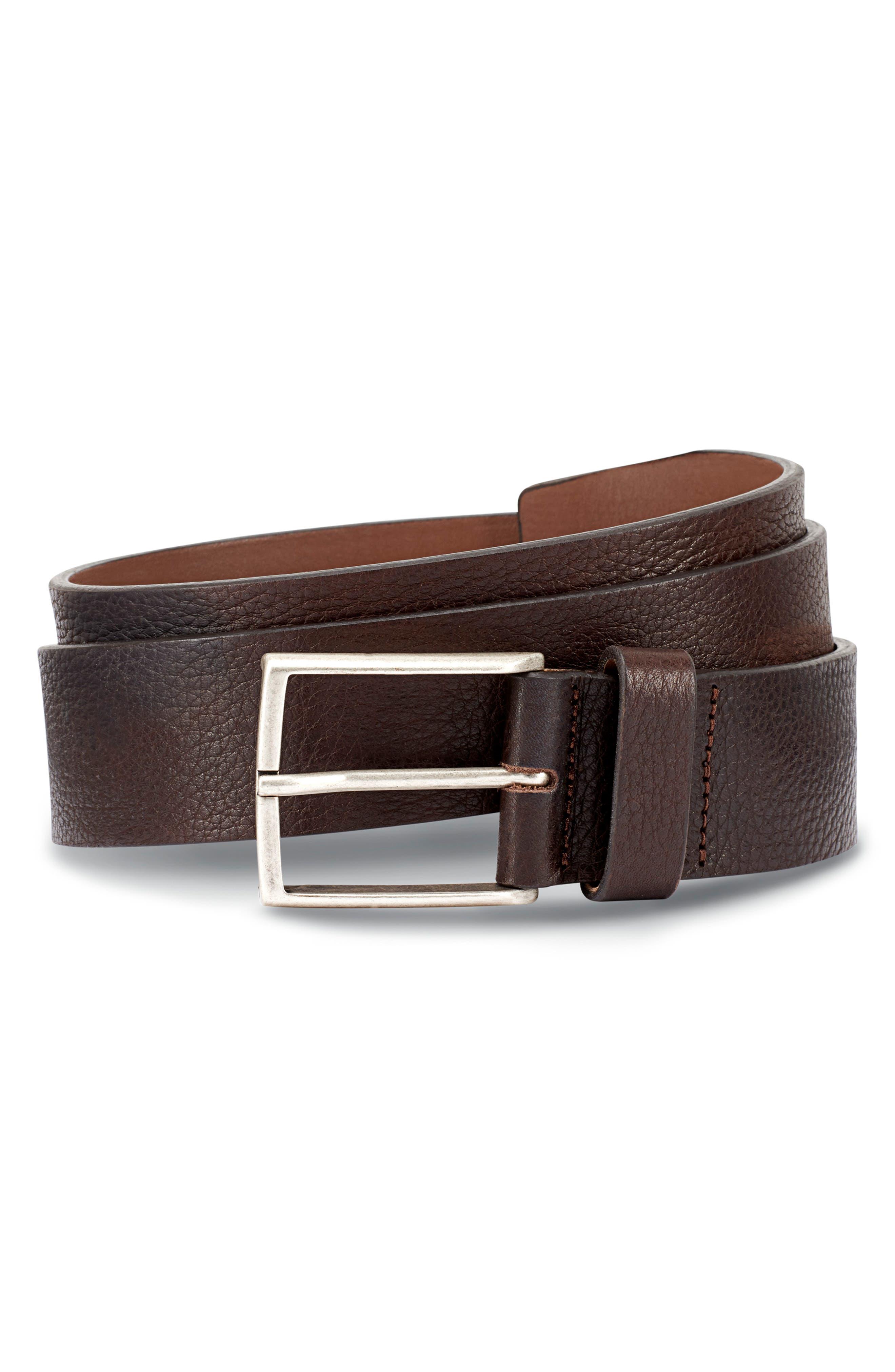 ALLEN EDMONDS Country Avenue Pebbled Leather Belt, Main, color, BROWN