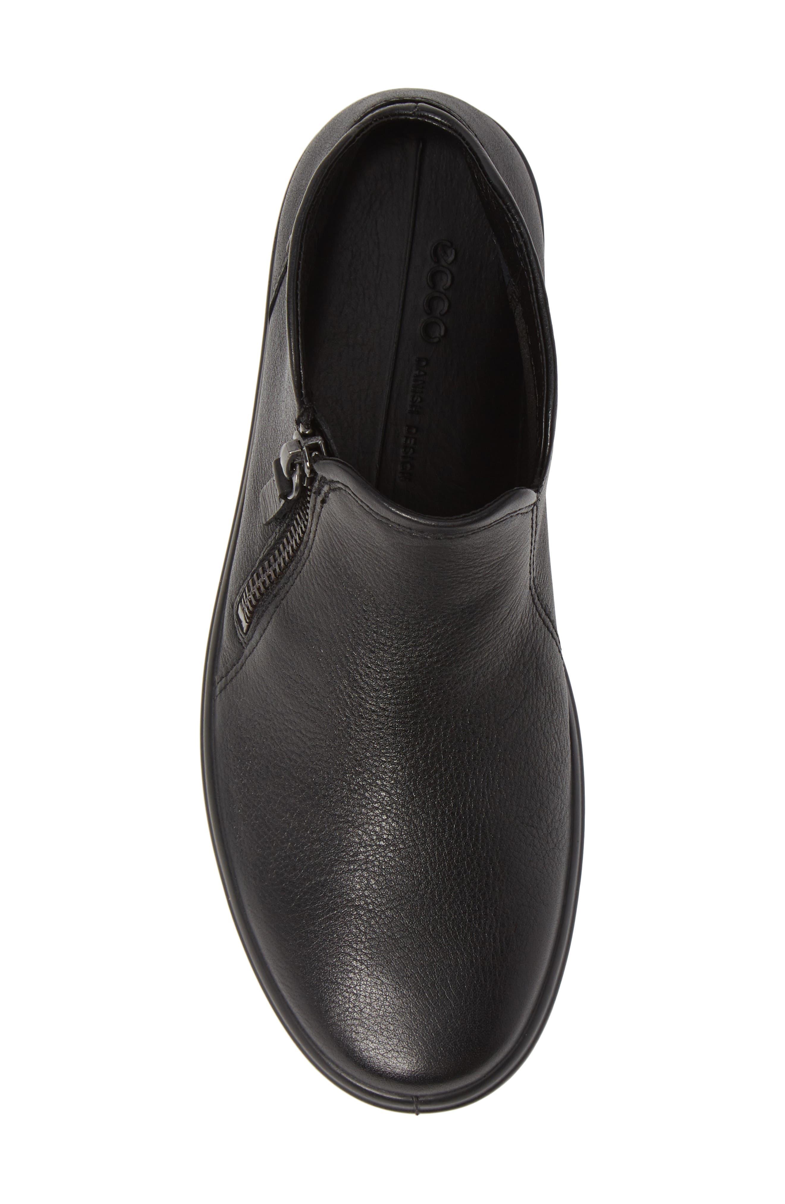 ECCO, Soft 7 Mid Top Sneaker, Alternate thumbnail 5, color, BLACK/ BLACK LEATHER