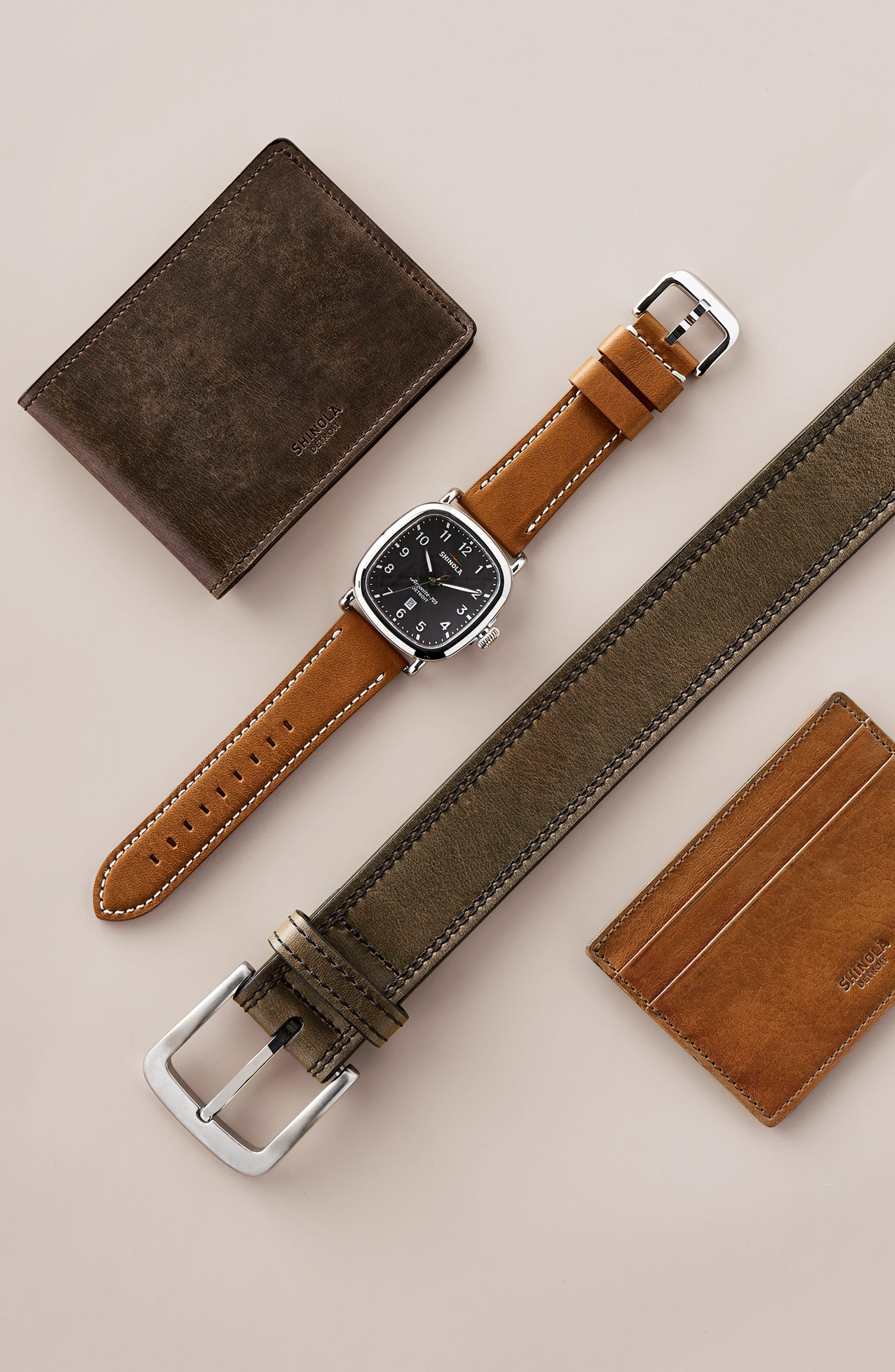 SHINOLA, Guardian Leather Strap Watch, 41mm, Alternate thumbnail 5, color, TAN/ BLACK