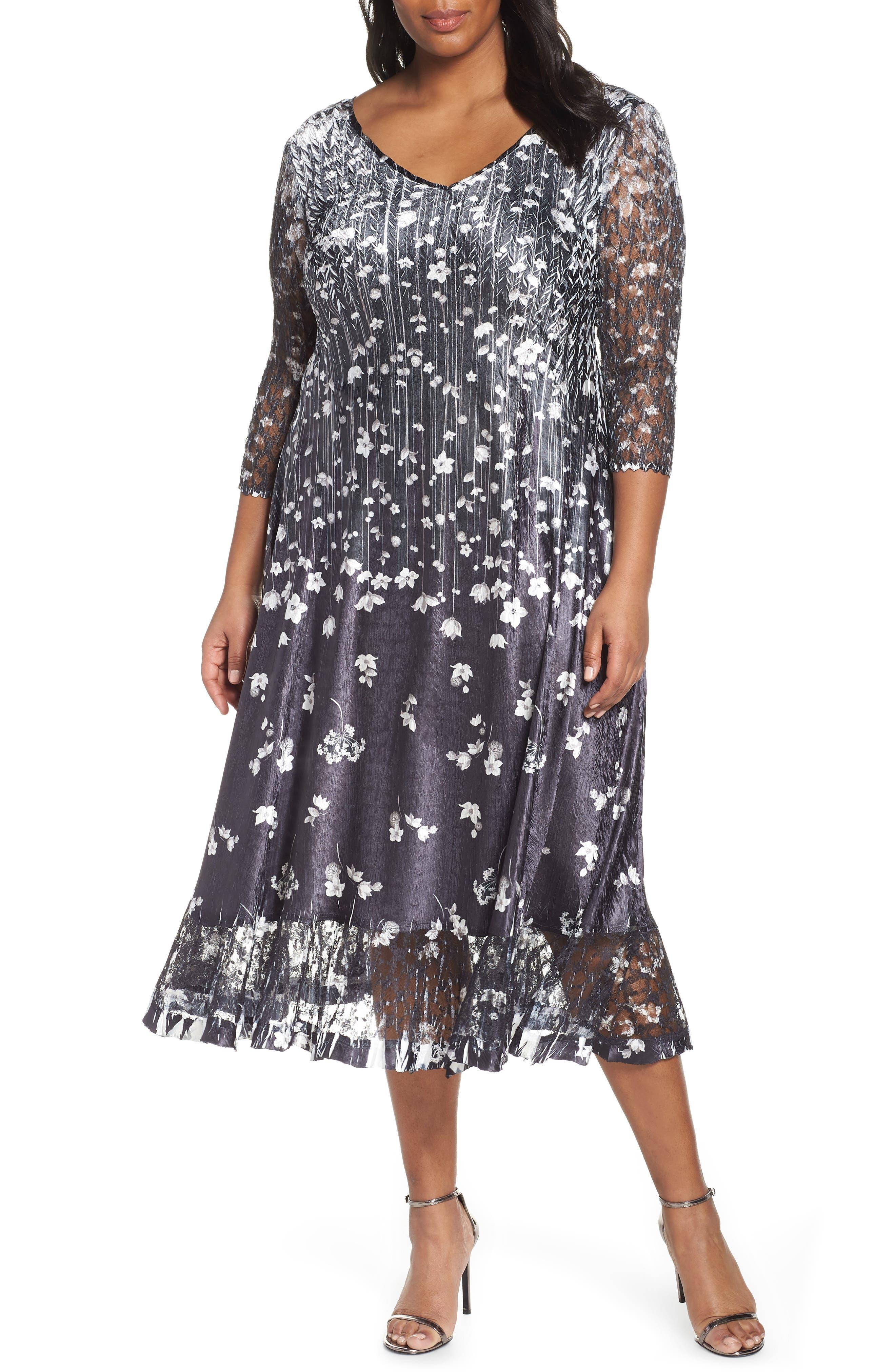 KOMAROV Floral Print A-Line Dress, Main, color, BLACK MEADOW