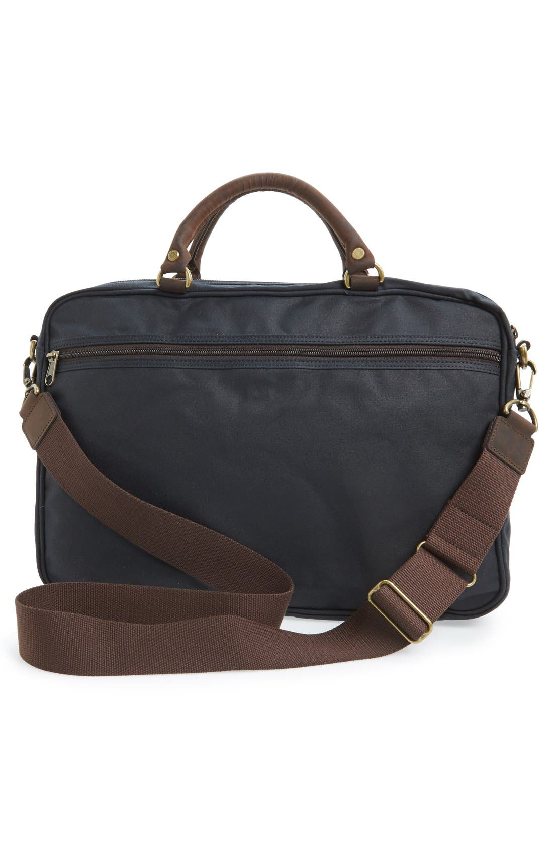 BARBOUR, Waxed Canvas Briefcase, Alternate thumbnail 3, color, NAVY