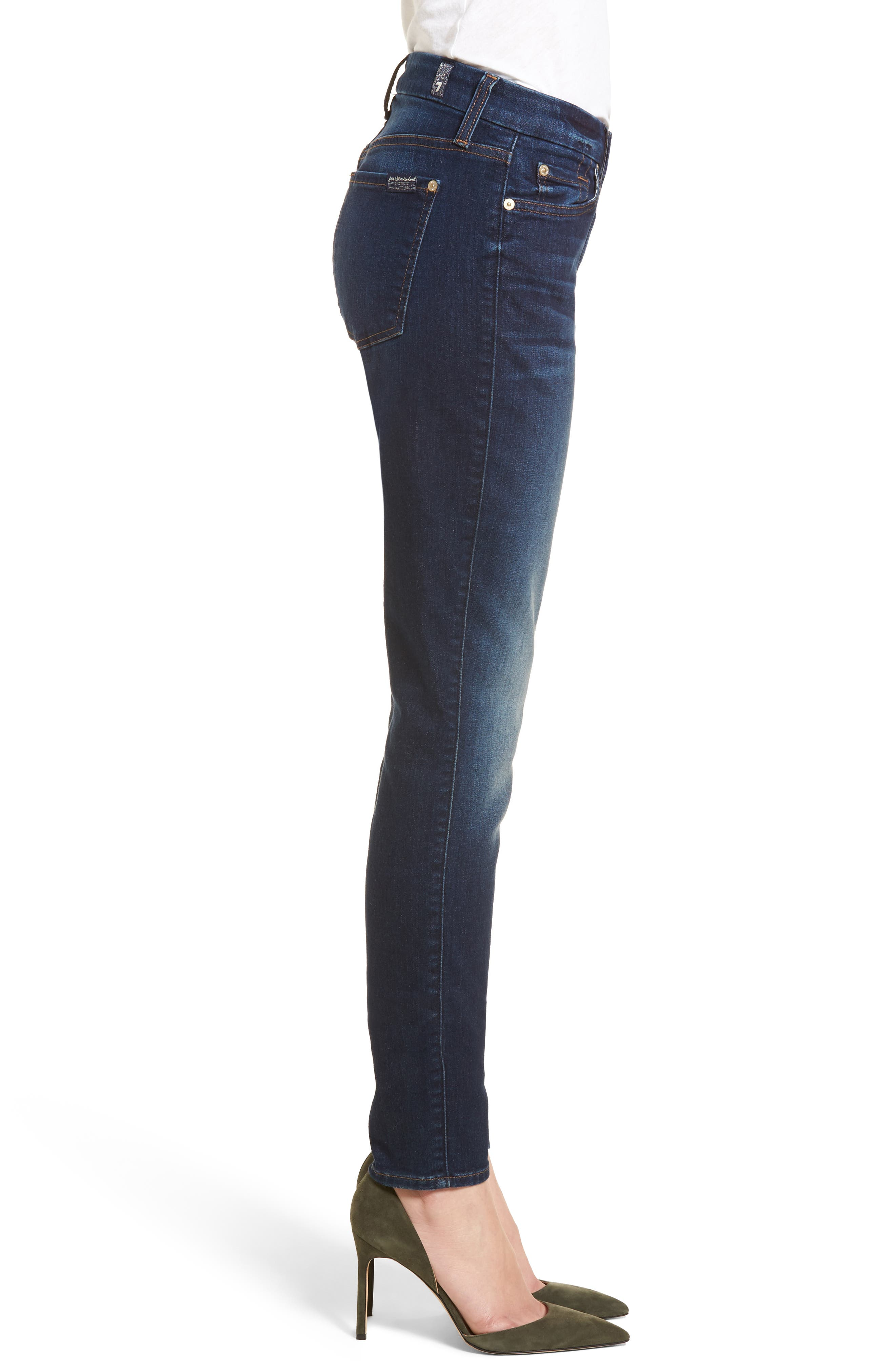 7 FOR ALL MANKIND<SUP>®</SUP>, b(air) High Waist Skinny Jeans, Alternate thumbnail 4, color, MORENO