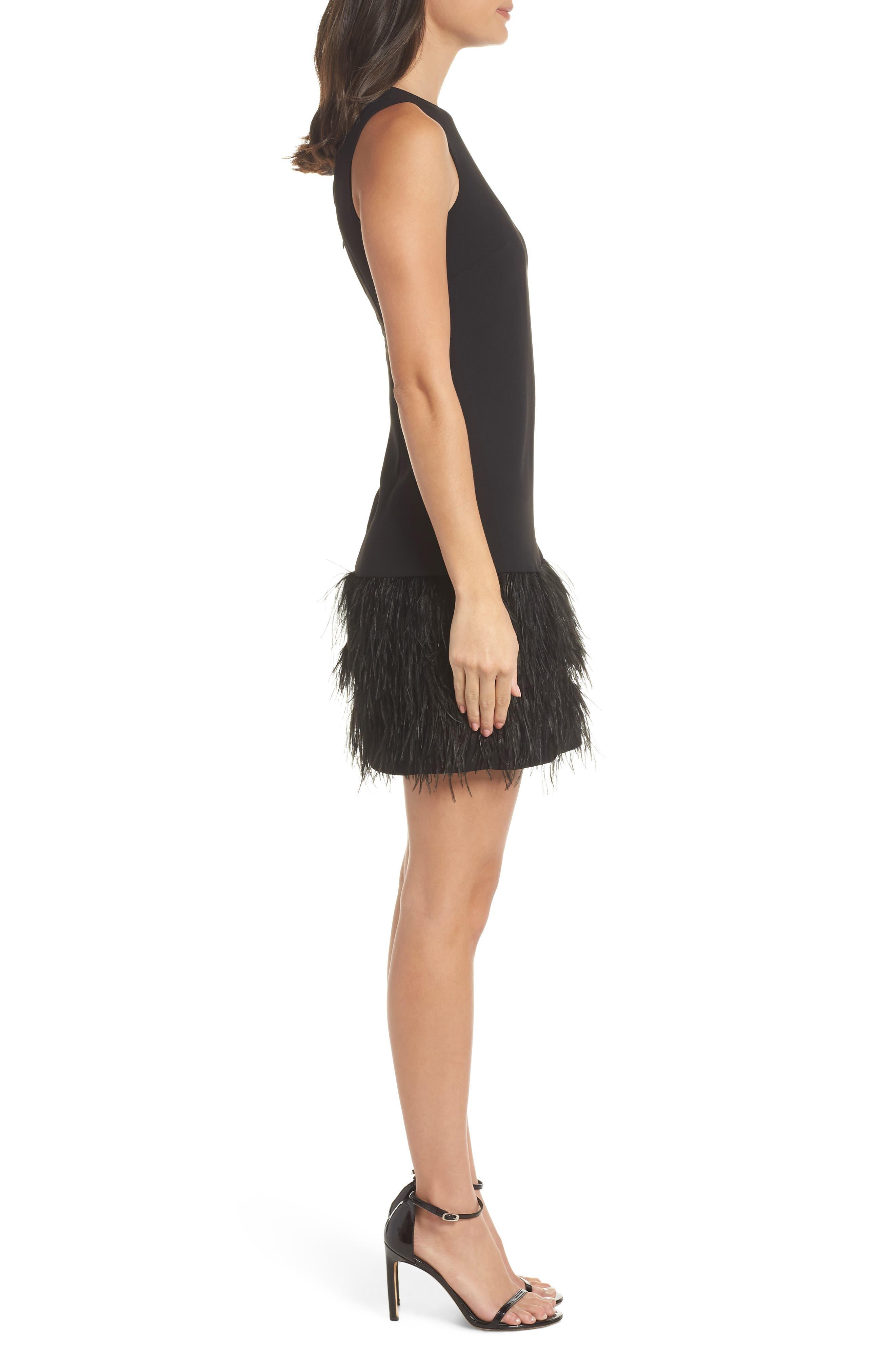 SAM EDELMAN, Feather Hem Sheath Dress, Alternate thumbnail 4, color, BLACK