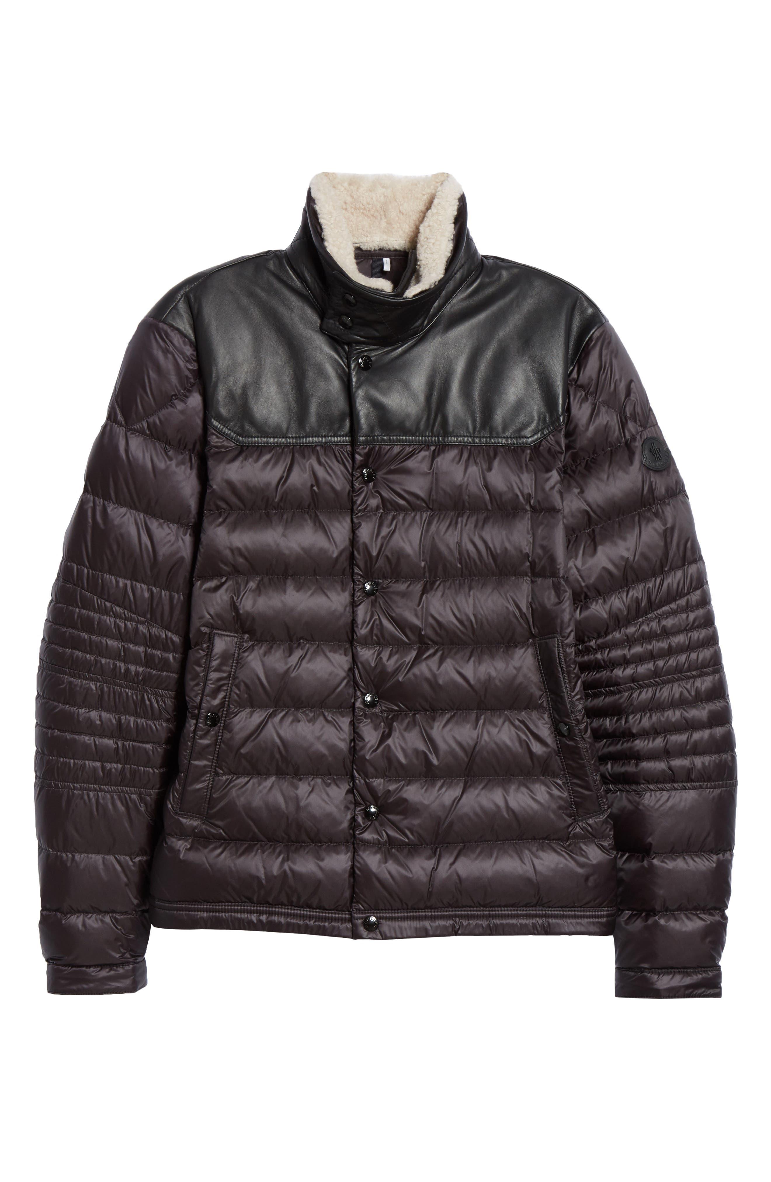 MONCLER, Vasserot Genuine Shearling Collar Jacket, Alternate thumbnail 6, color, BLACK