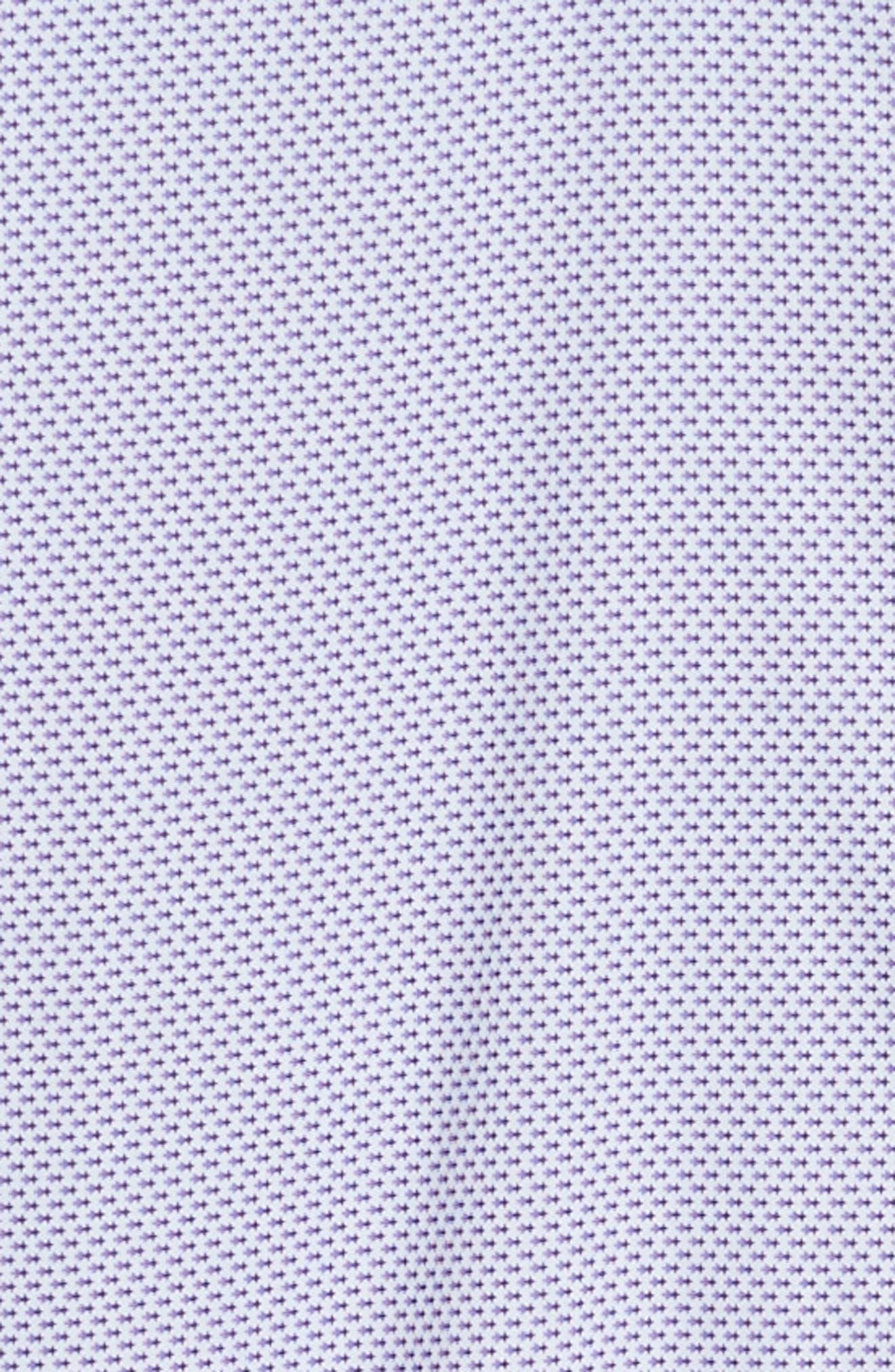 ZACHARY PRELL, Wilson Regular Fit Micro Print Sport Shirt, Alternate thumbnail 6, color, PURPLE