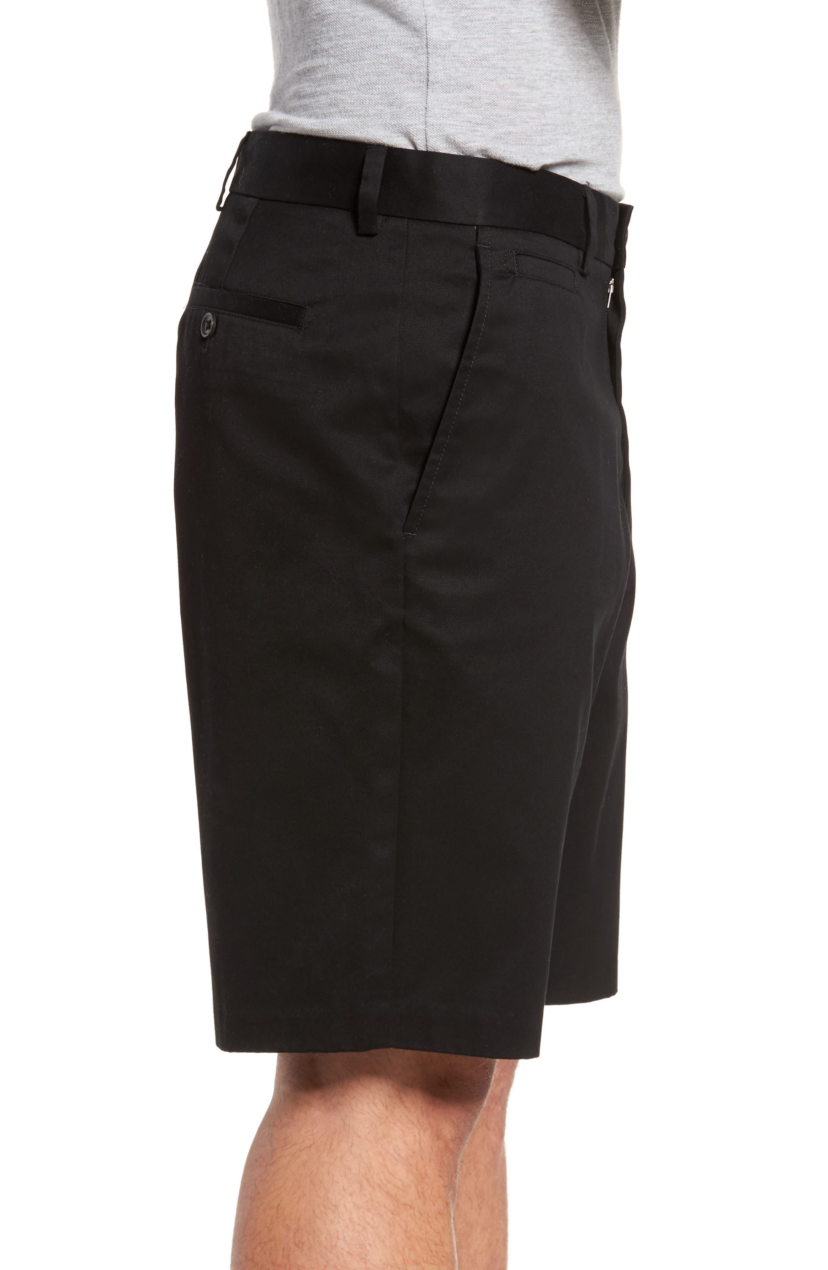NORDSTROM MEN'S SHOP, Smartcare<sup>™</sup> Flat Front Shorts, Alternate thumbnail 3, color, BLACK
