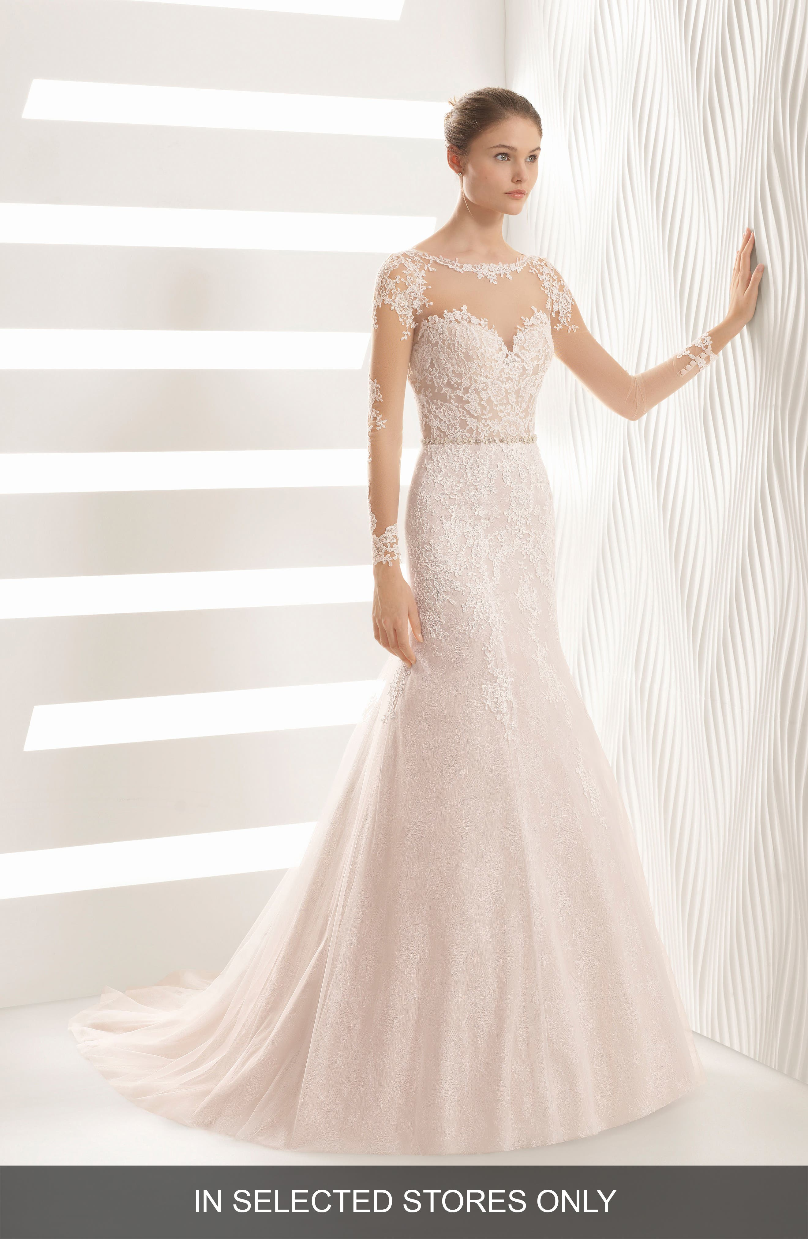 ROSA CLARÁ Amor Embroidered Illusion Lace Trumpet Gown, Main, color, NUDE