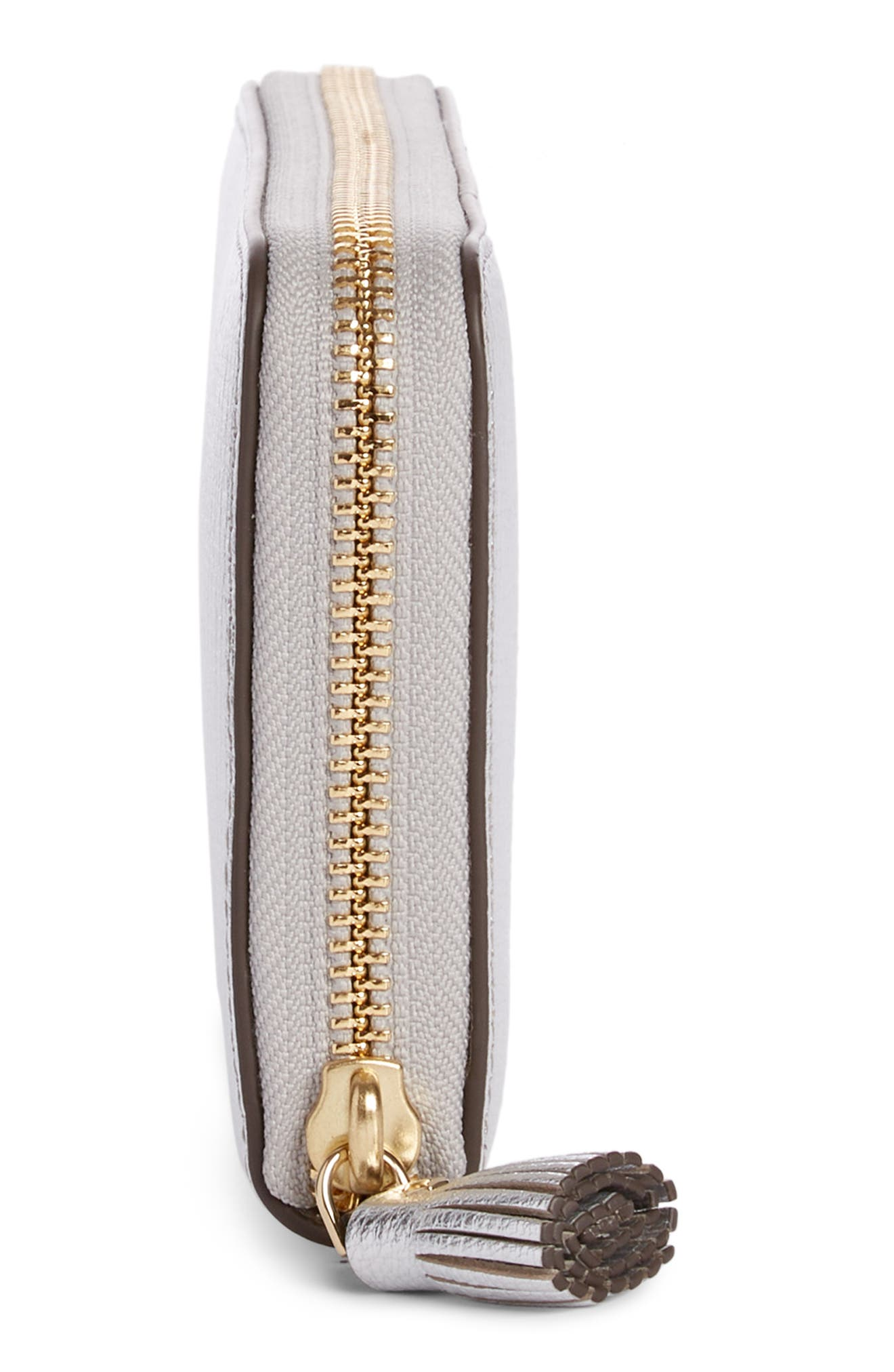 ANYA HINDMARCH, Eyes Large Metallic Leather Zip Around Wallet, Alternate thumbnail 4, color, SILVER