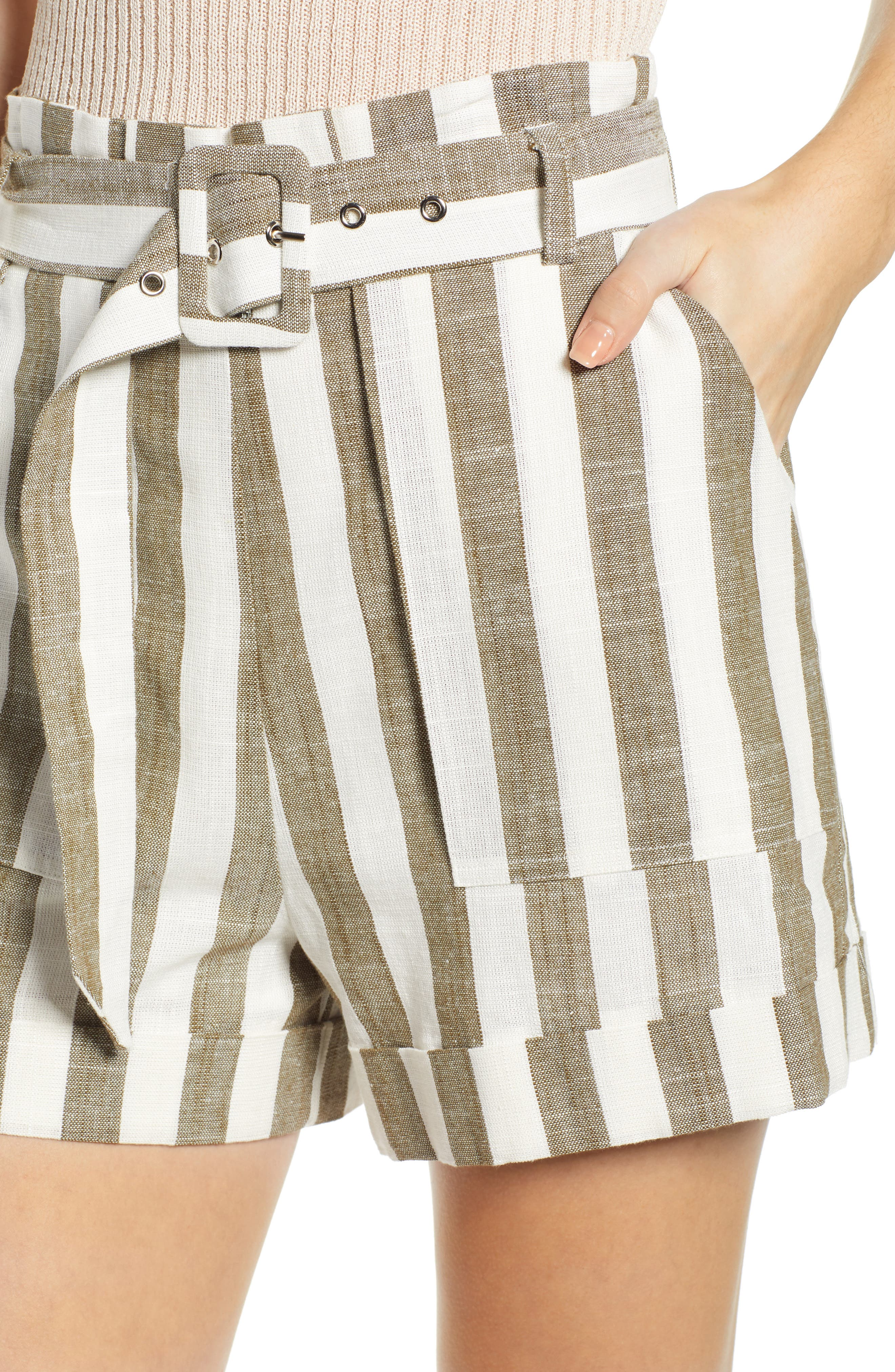 CHRISELLE LIM COLLECTION, Chriselle Lim Cherie Shorts, Alternate thumbnail 4, color, OLIVE STRIPE