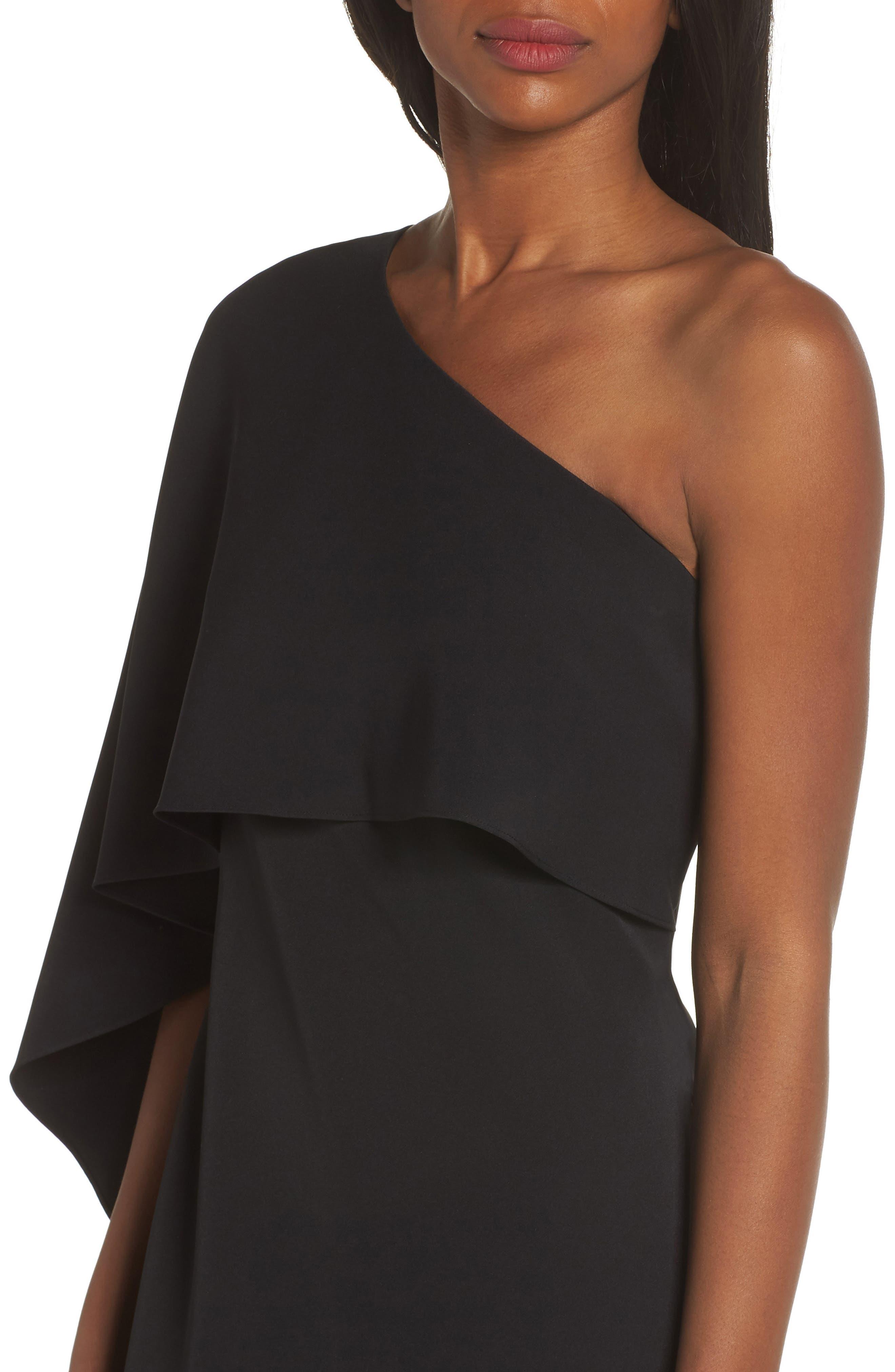 VINCE CAMUTO, One-Shoulder Cape Evening Dress, Alternate thumbnail 5, color, BLACK