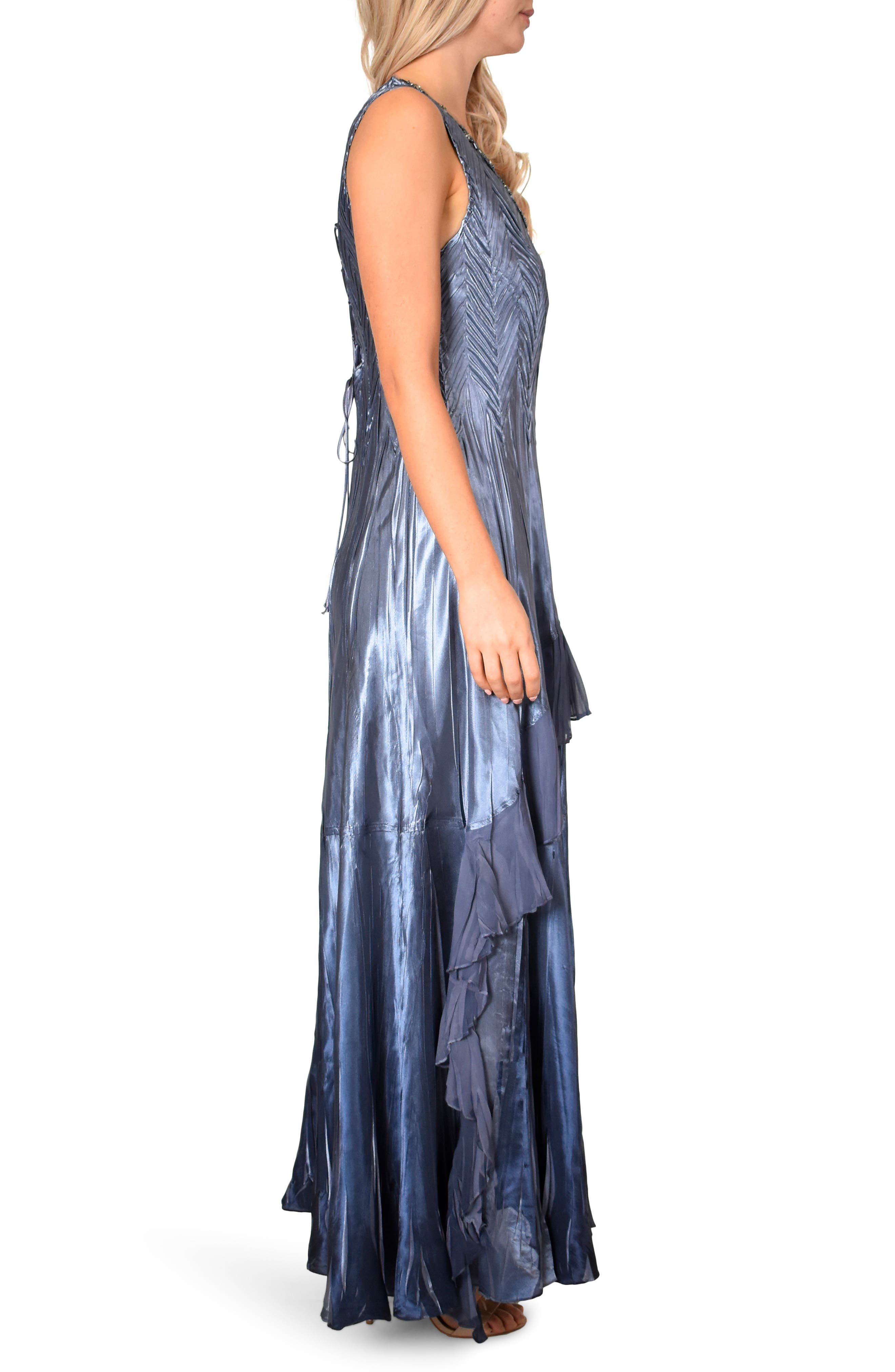 KOMAROV, Beaded V-Neck Charmeuse & Chiffon Evening Dress with Wrap, Alternate thumbnail 4, color, PURPLE SAGE BLUE OMBRE