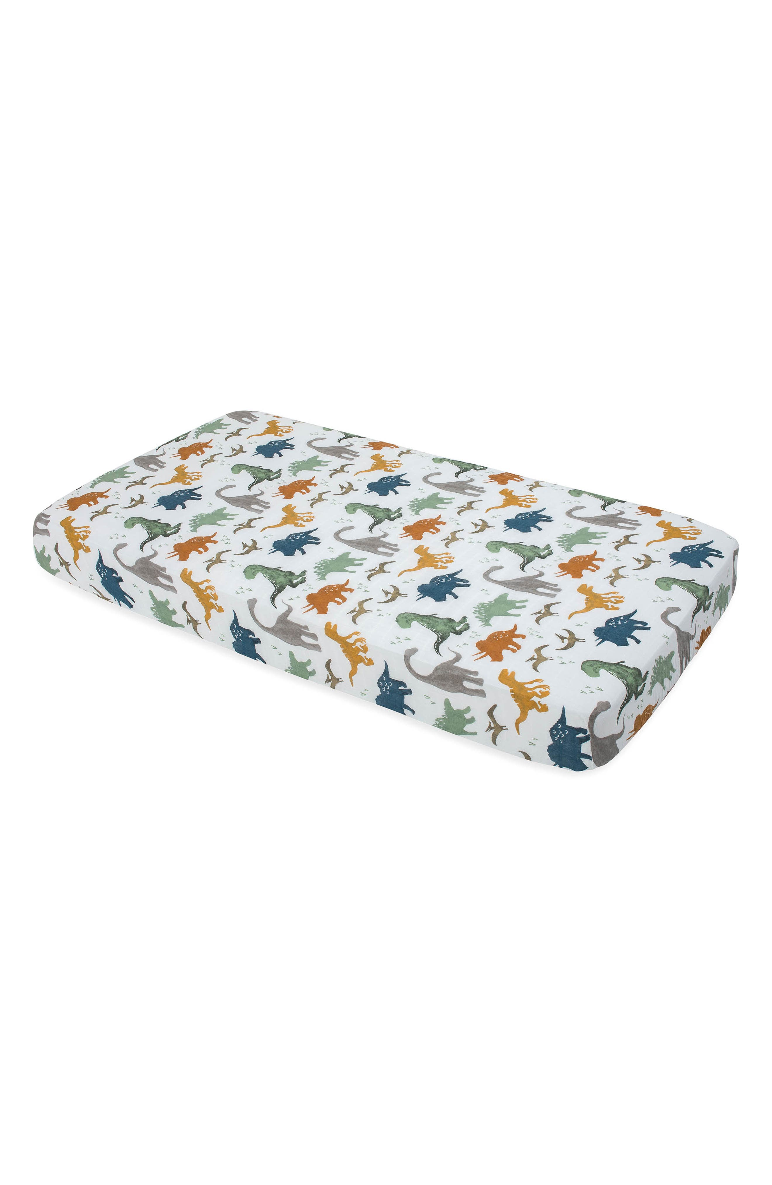 LITTLE UNICORN Cotton Muslin Crib Sheet, Main, color, DINO FRIENDS