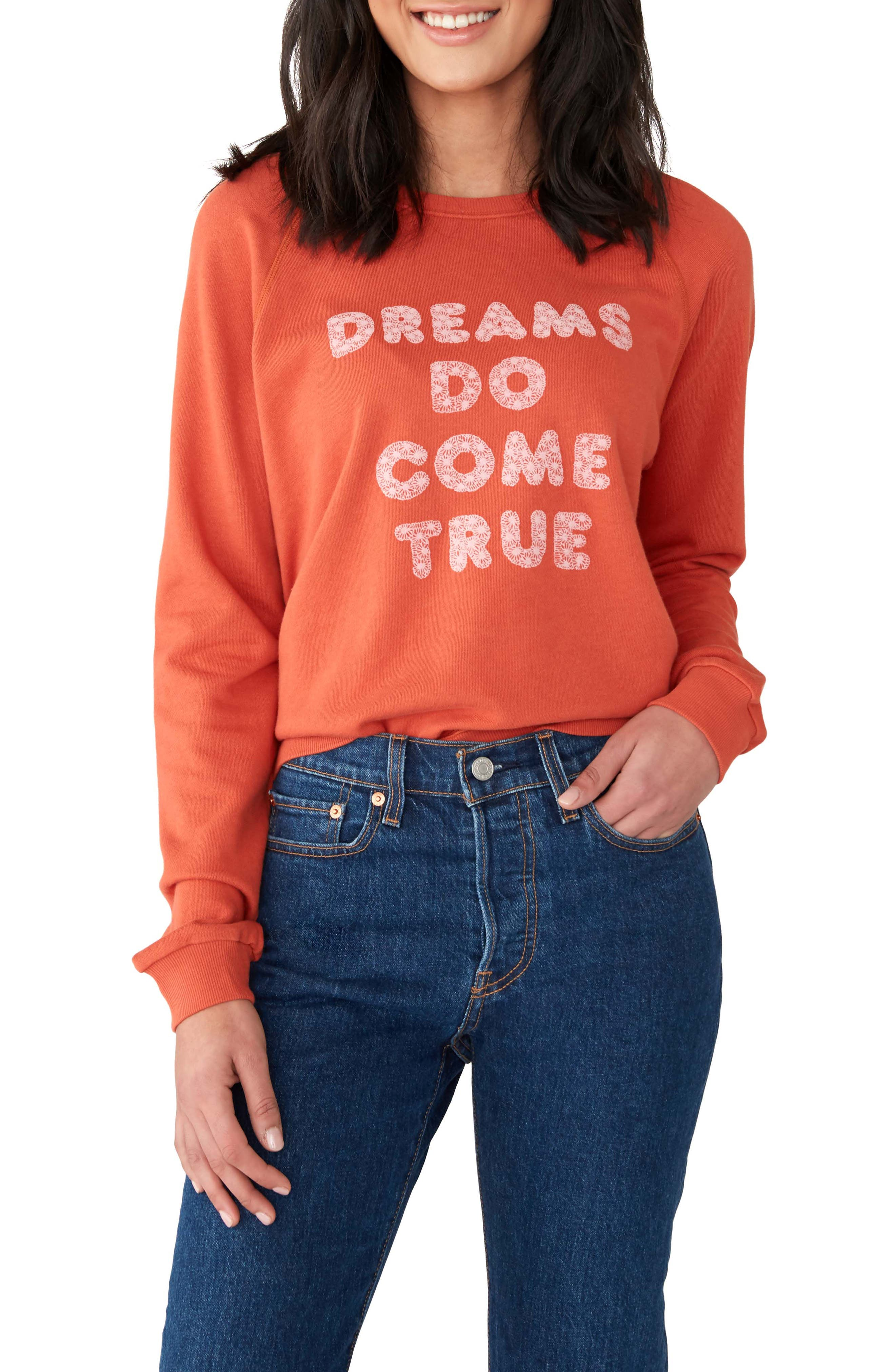 BAN.DO Dreams Do Come True Sweatshirt, Main, color, RUST