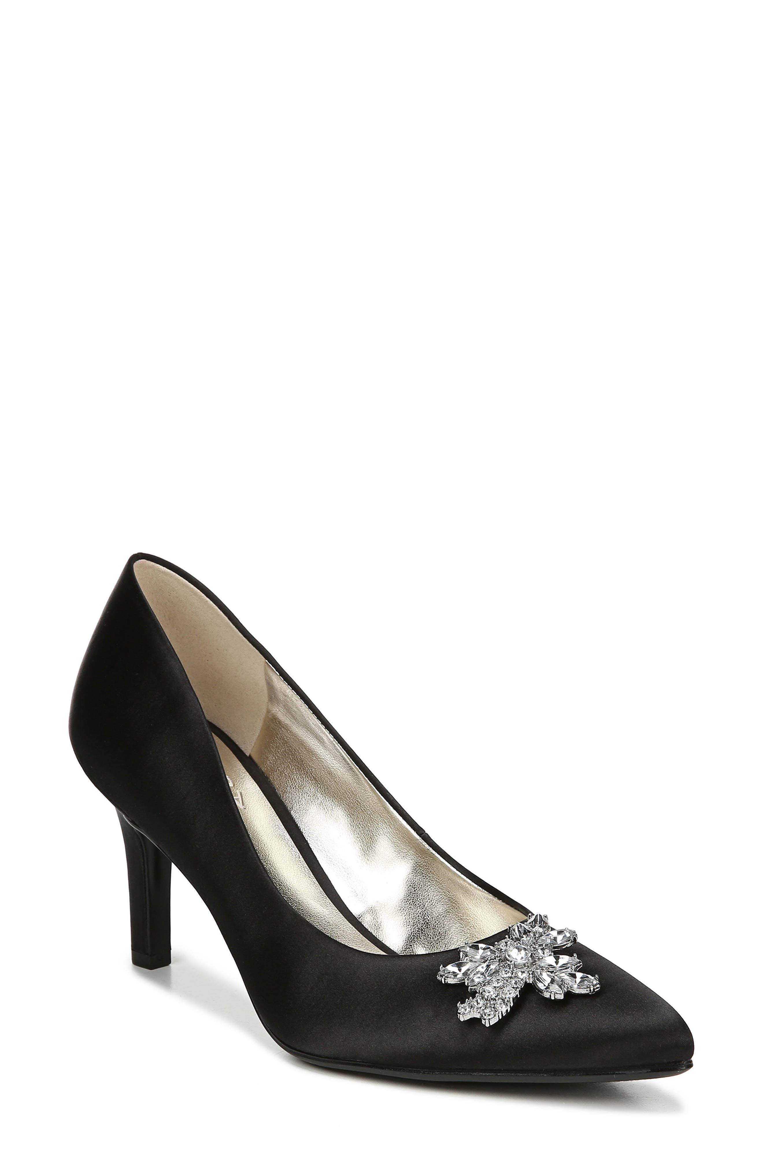 NATURALIZER Natalie Embellished Pointy Toe Pump, Main, color, BLACK SATIN