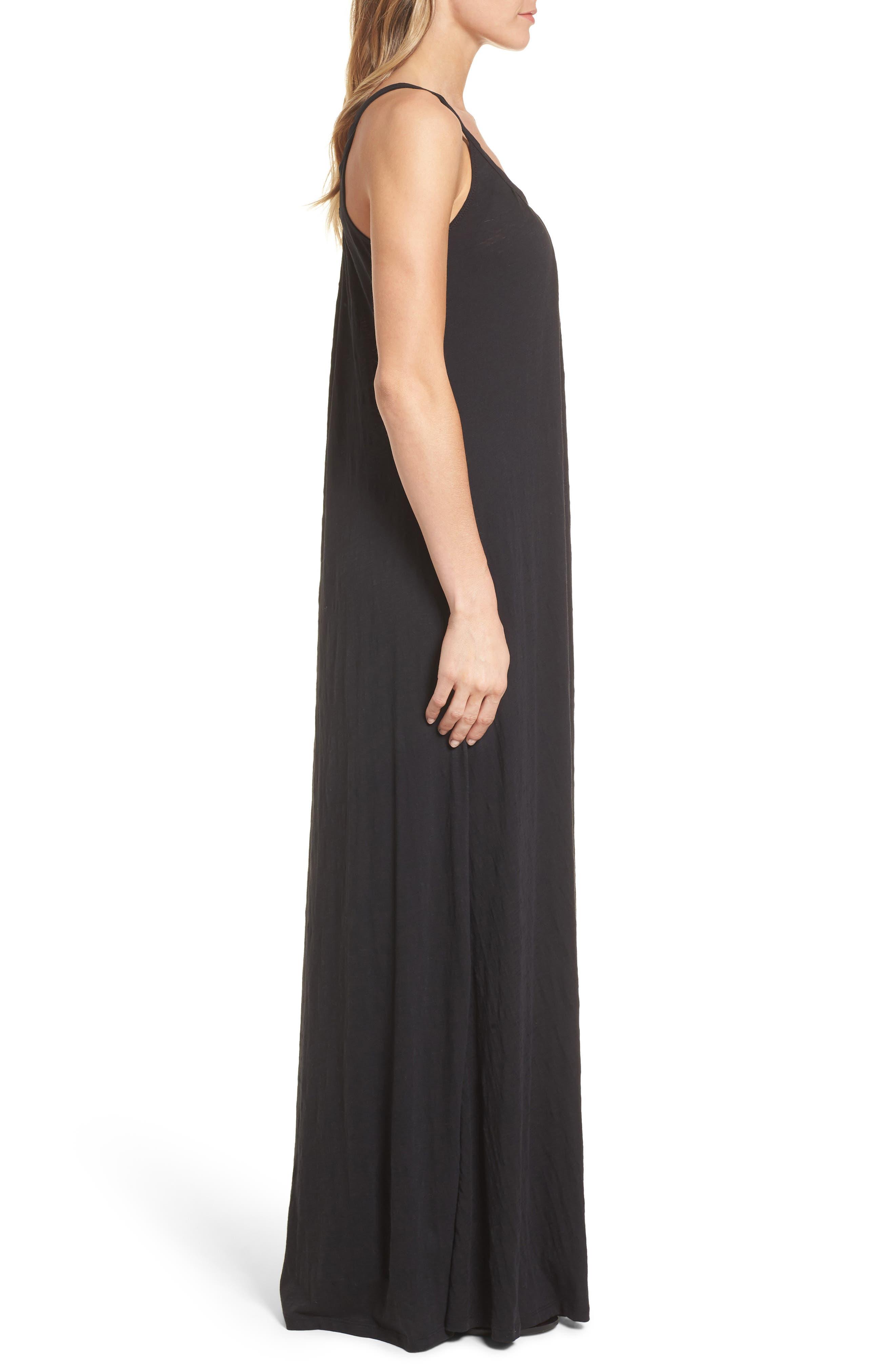 CASLON<SUP>®</SUP>, Twist Neck Maxi Dress, Alternate thumbnail 4, color, BLACK