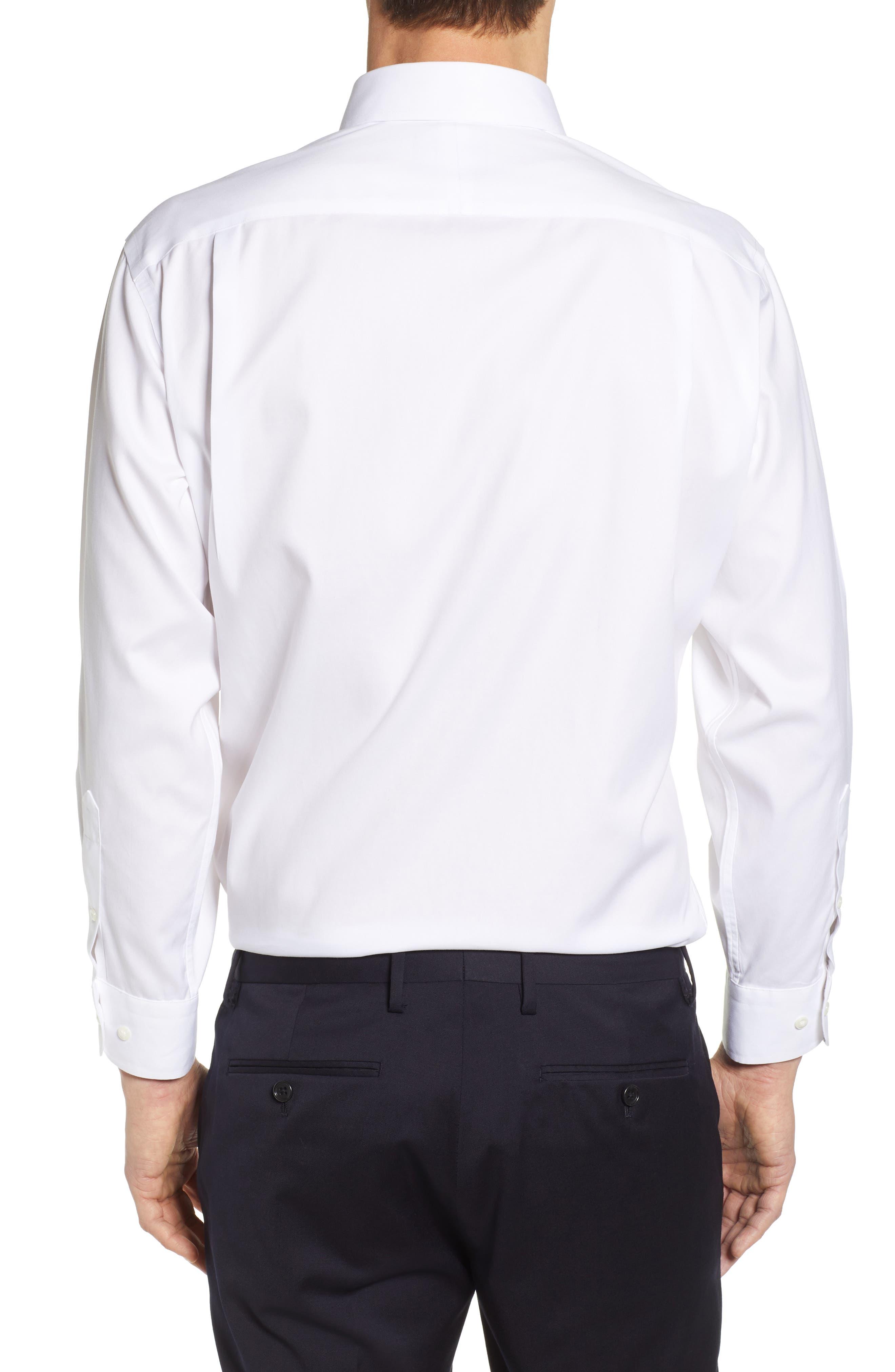 NORDSTROM MEN'S SHOP, Smartcare<sup>™</sup> Classic Fit Solid Dress Shirt, Alternate thumbnail 3, color, WHITE BRILLIANT