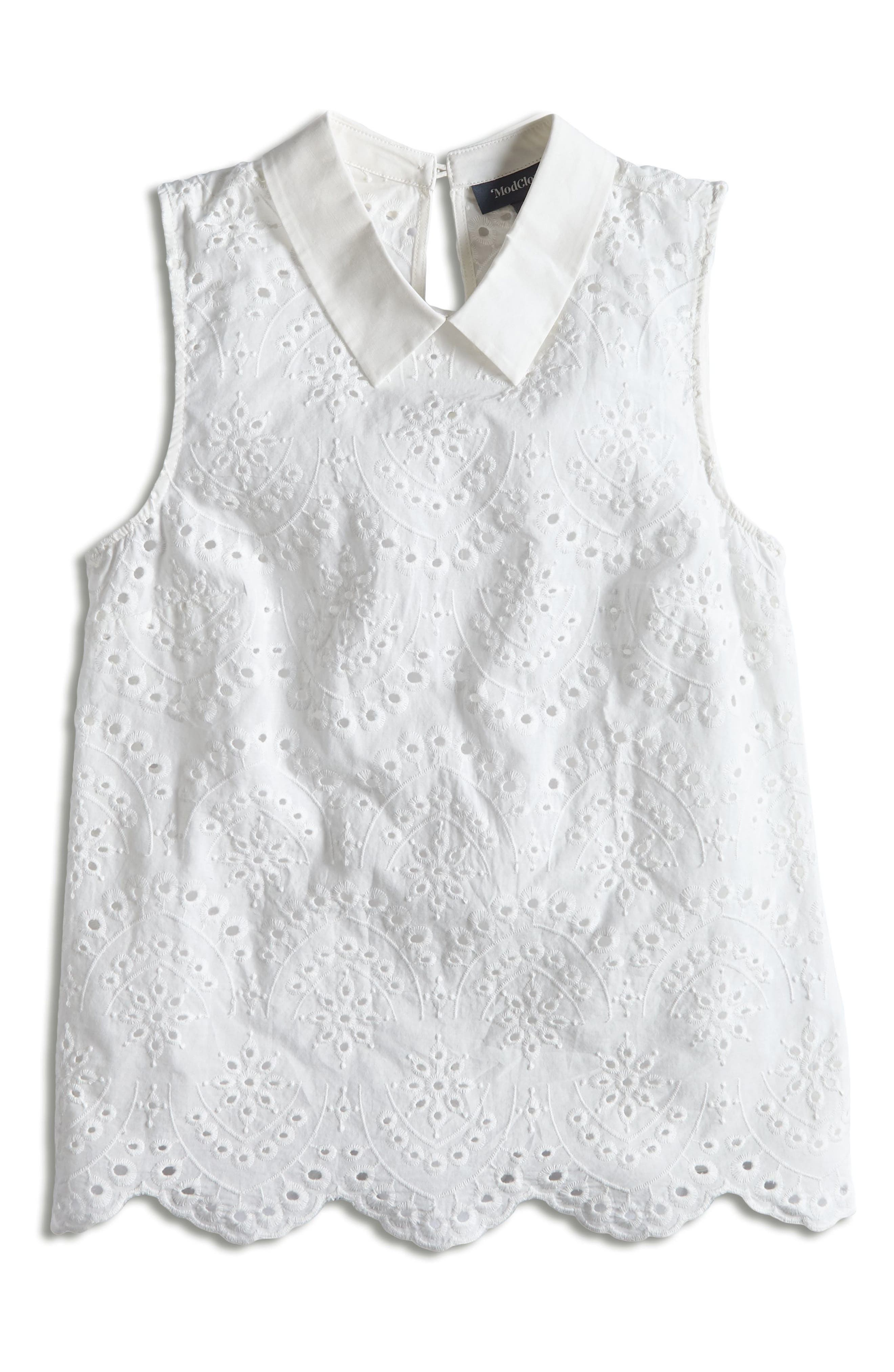 MODCLOTH, Eyelet in the Sun Top, Alternate thumbnail 5, color, WHITE