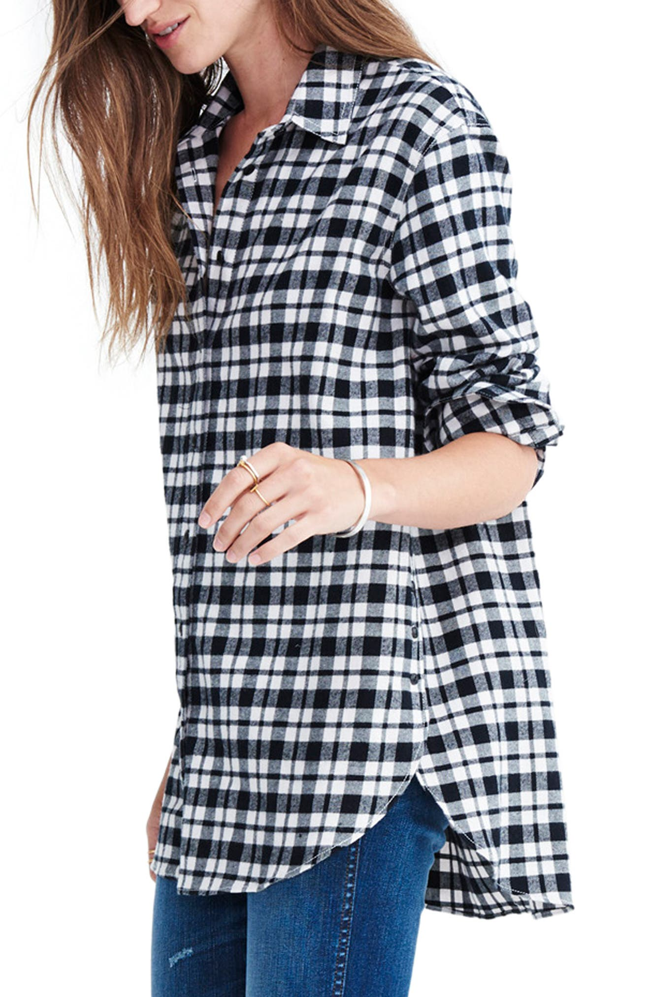 MADEWELL, Oversize Flannel Shirt, Alternate thumbnail 3, color, 002