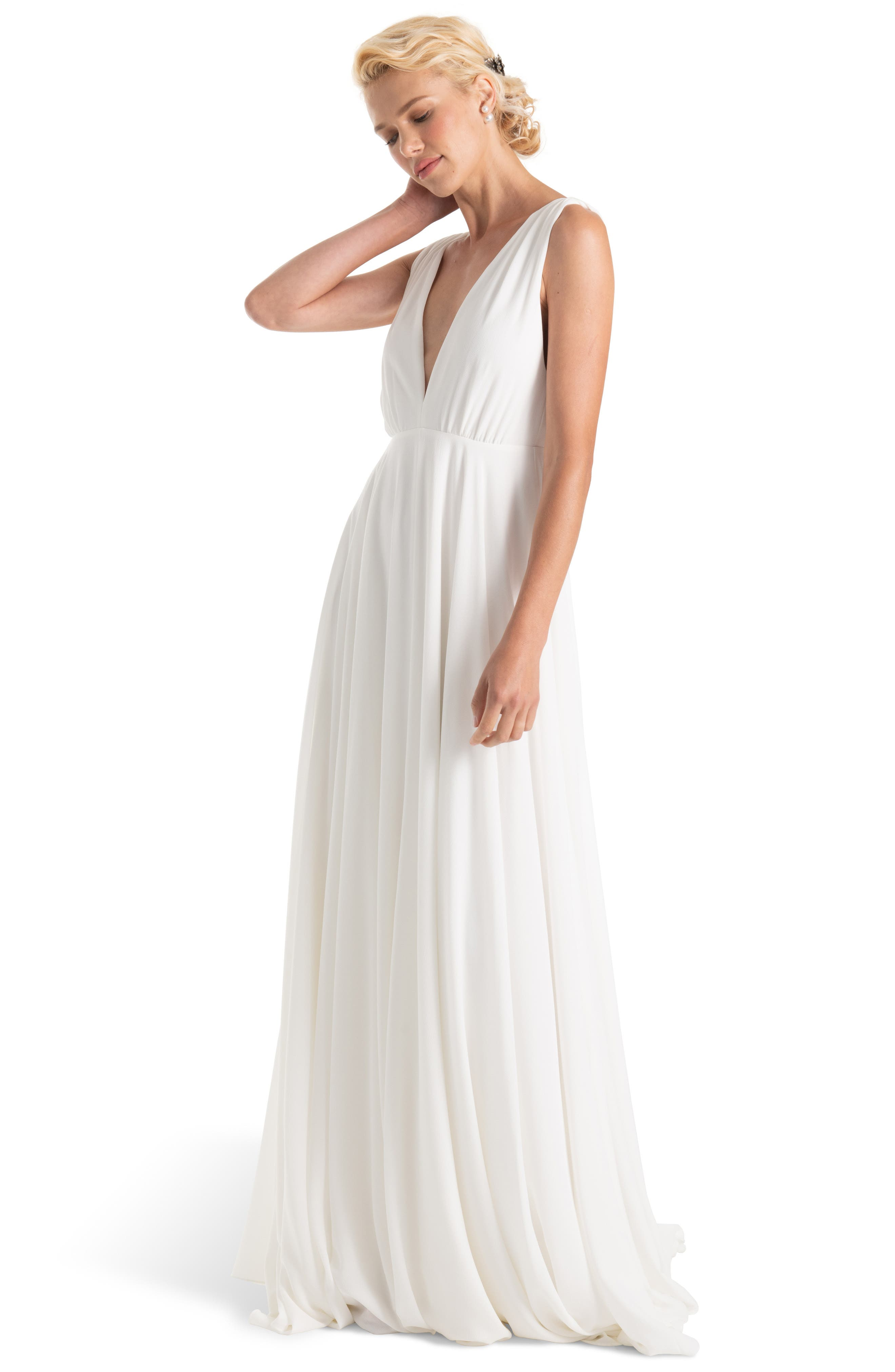 JOANNA AUGUST, Nico Plunging A-Line Gown, Alternate thumbnail 3, color, WHITE
