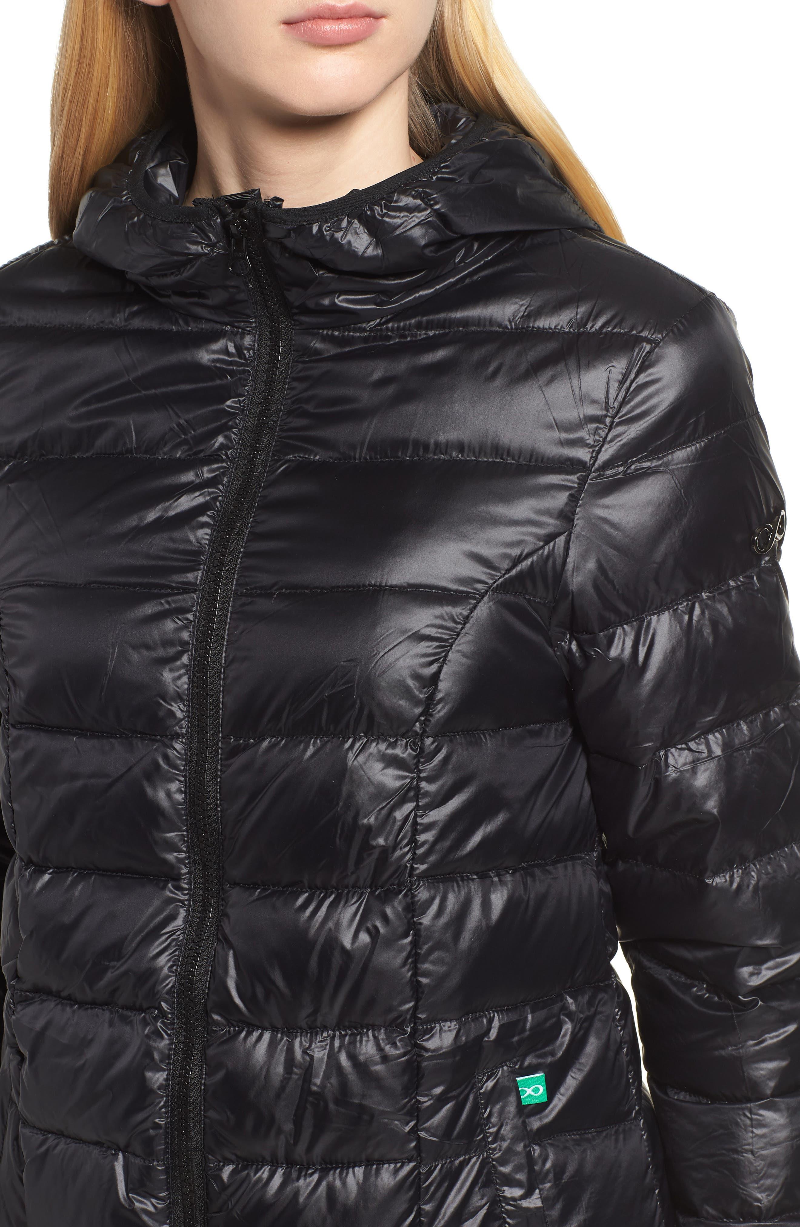 MODERN ETERNITY, Lightweight Down 3-in-1 Maternity/Nursing Jacket, Alternate thumbnail 5, color, BLACK