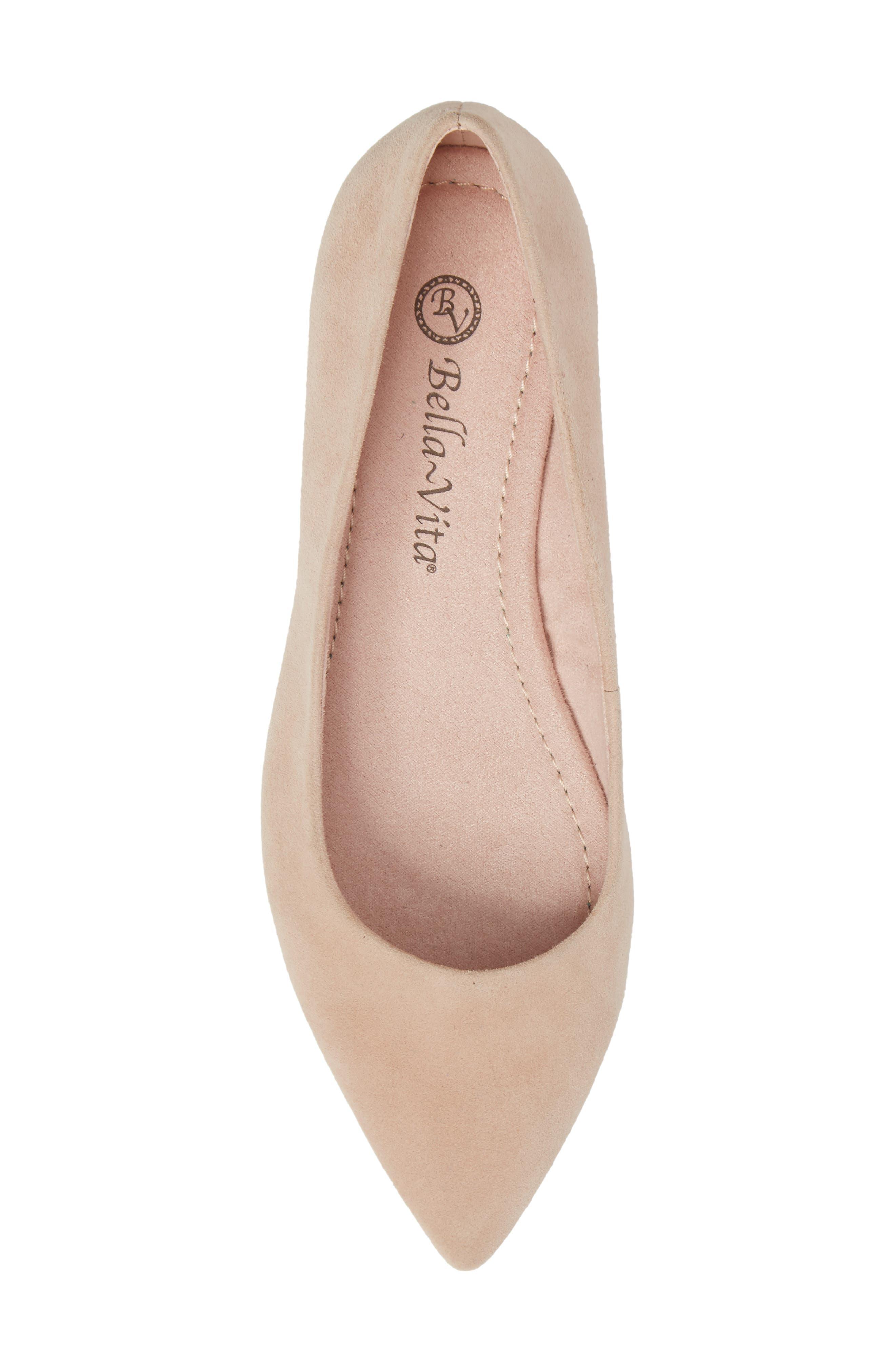 BELLA VITA, 'Vivien' Pointy Toe Flat, Alternate thumbnail 5, color, BLUSH SUEDE