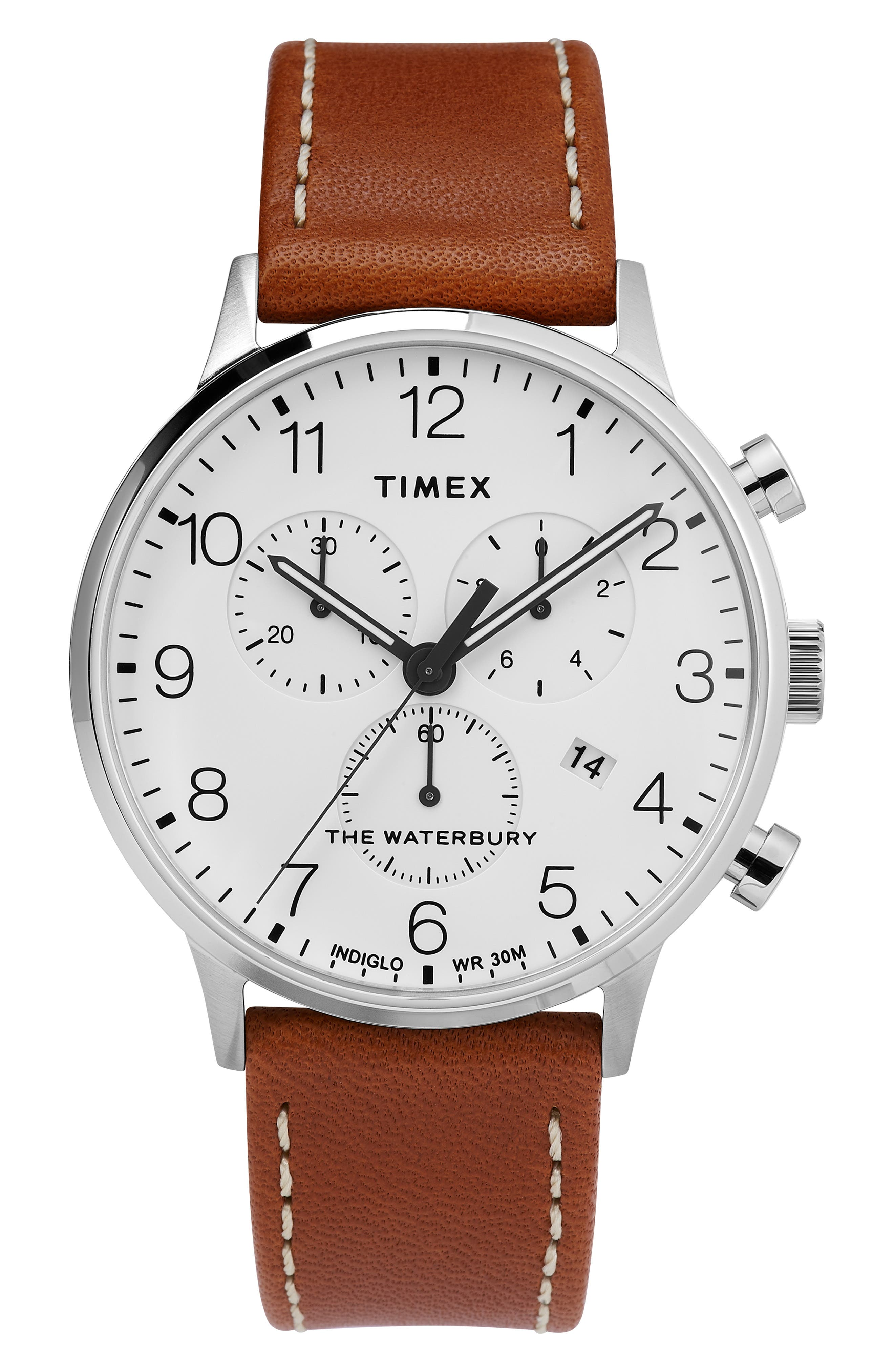 TIMEX<SUP>®</SUP> Waterbury Chronograph Leather Strap Watch, 40mm, Main, color, TAN/ WHITE/ SILVER