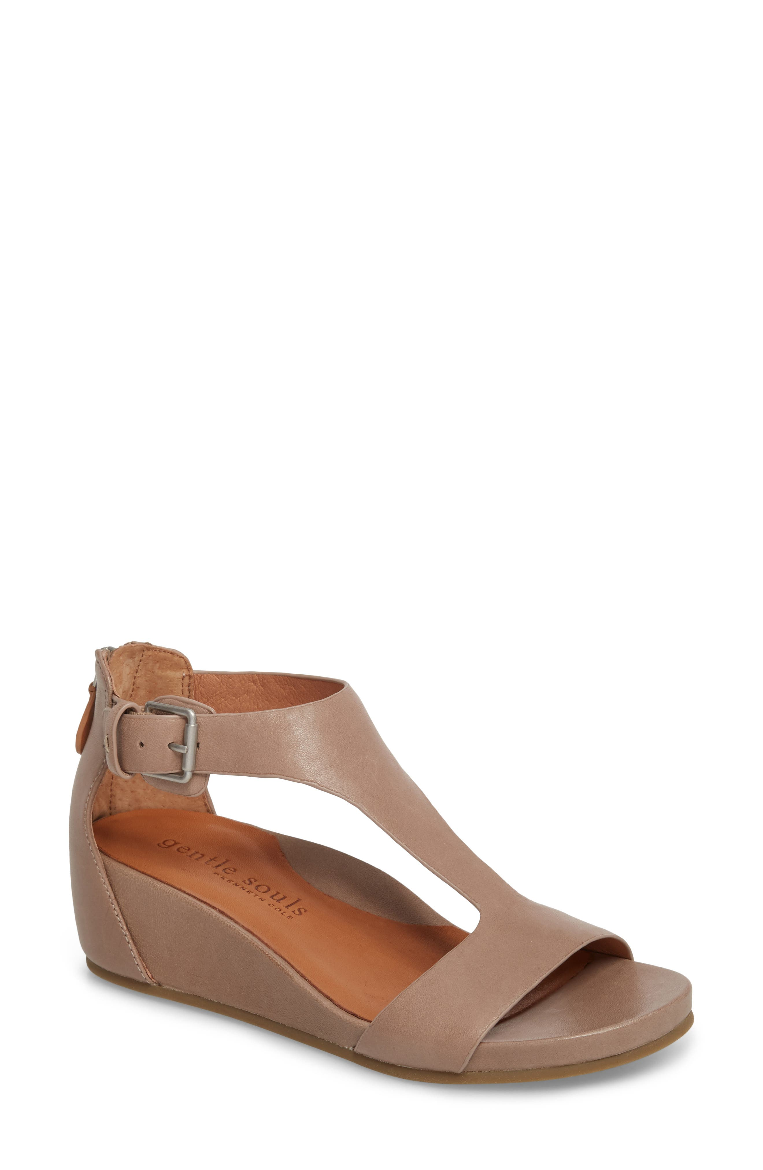 GENTLE SOULS BY KENNETH COLE, Gisele Wedge Sandal, Main thumbnail 1, color, PUTTY LEATHER