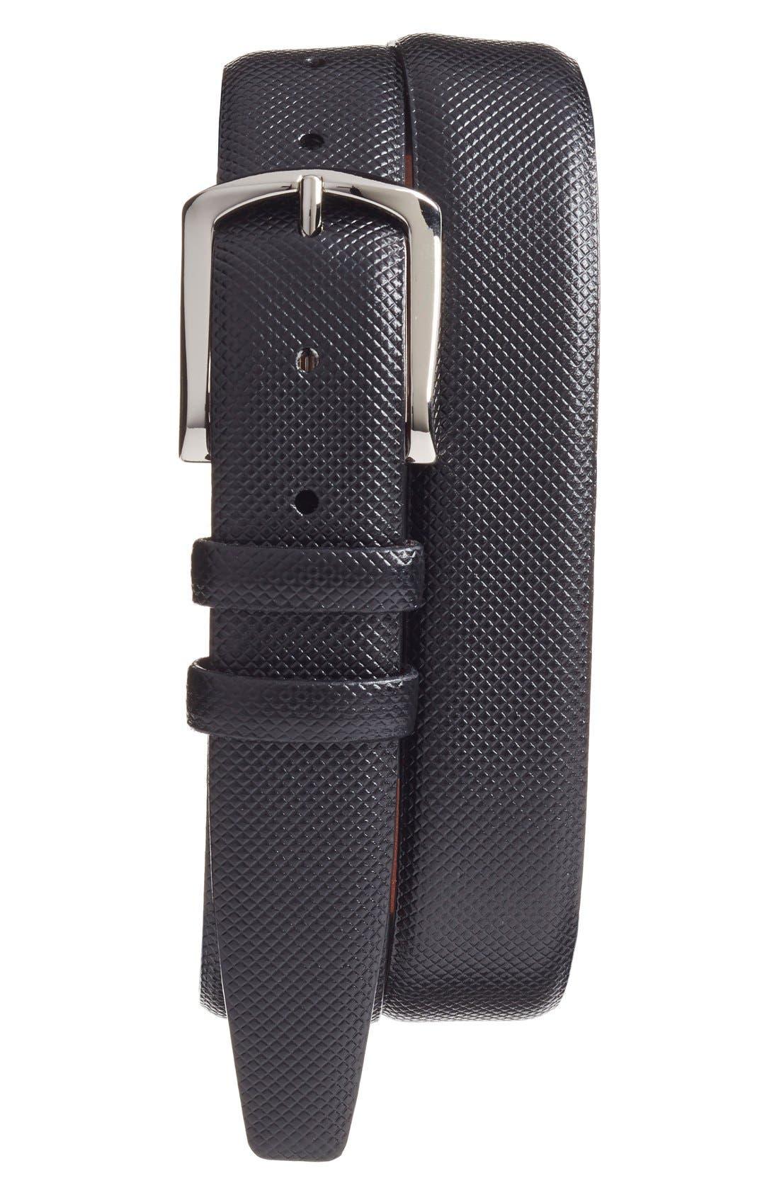 TORINO, Bulgaro Calfskin Leather Belt, Main thumbnail 1, color, BLACK