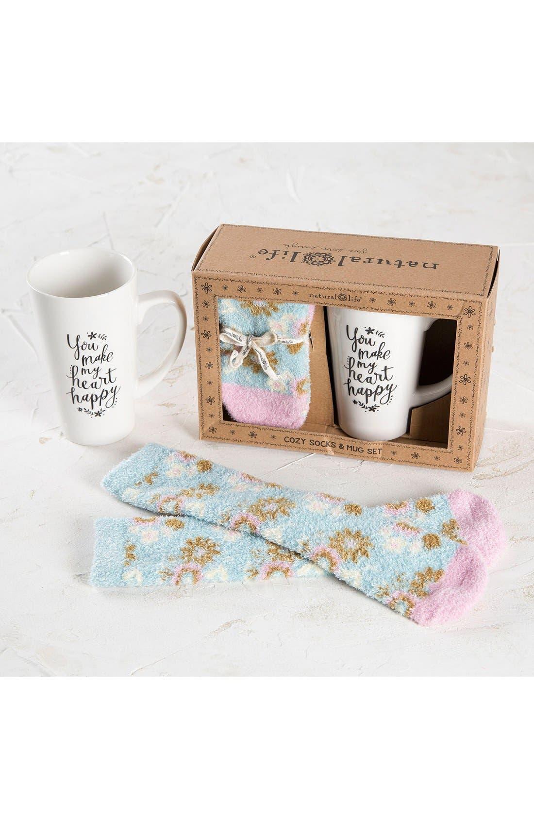 NATURAL LIFE, 'You Make My Heart Happy' Cozy Socks & Ceramic Mug Gift Set, Alternate thumbnail 3, color, 400