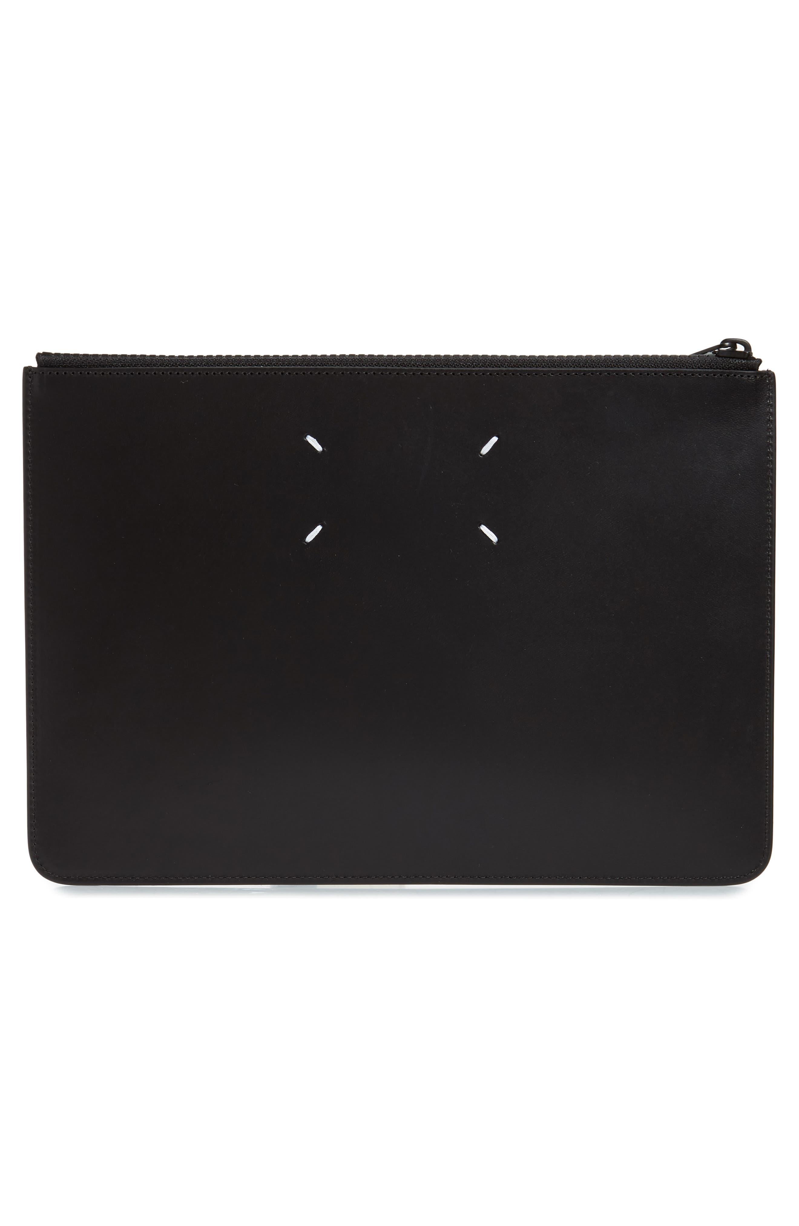 MAISON MARGIELA, Leather Zip Pouch, Alternate thumbnail 3, color, BLACK