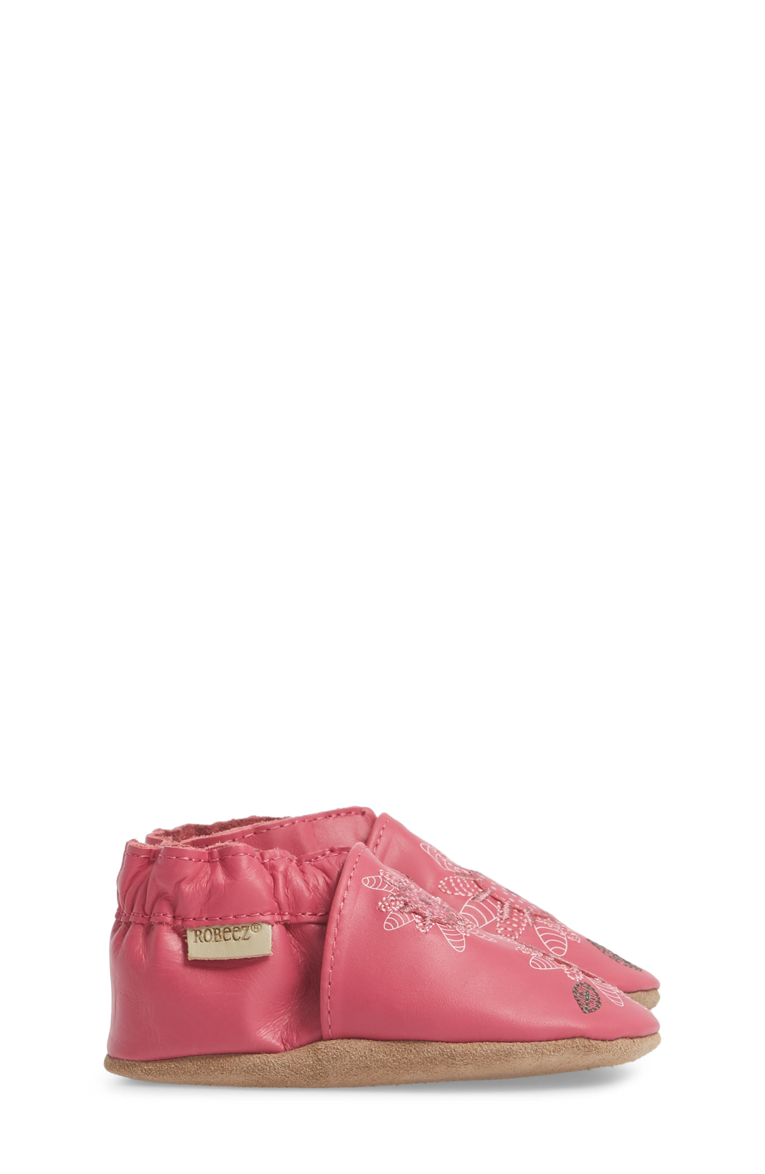 ROBEEZ<SUP>®</SUP>, Fiona Flower Moccasin Crib Shoe, Alternate thumbnail 3, color, HOT PINK