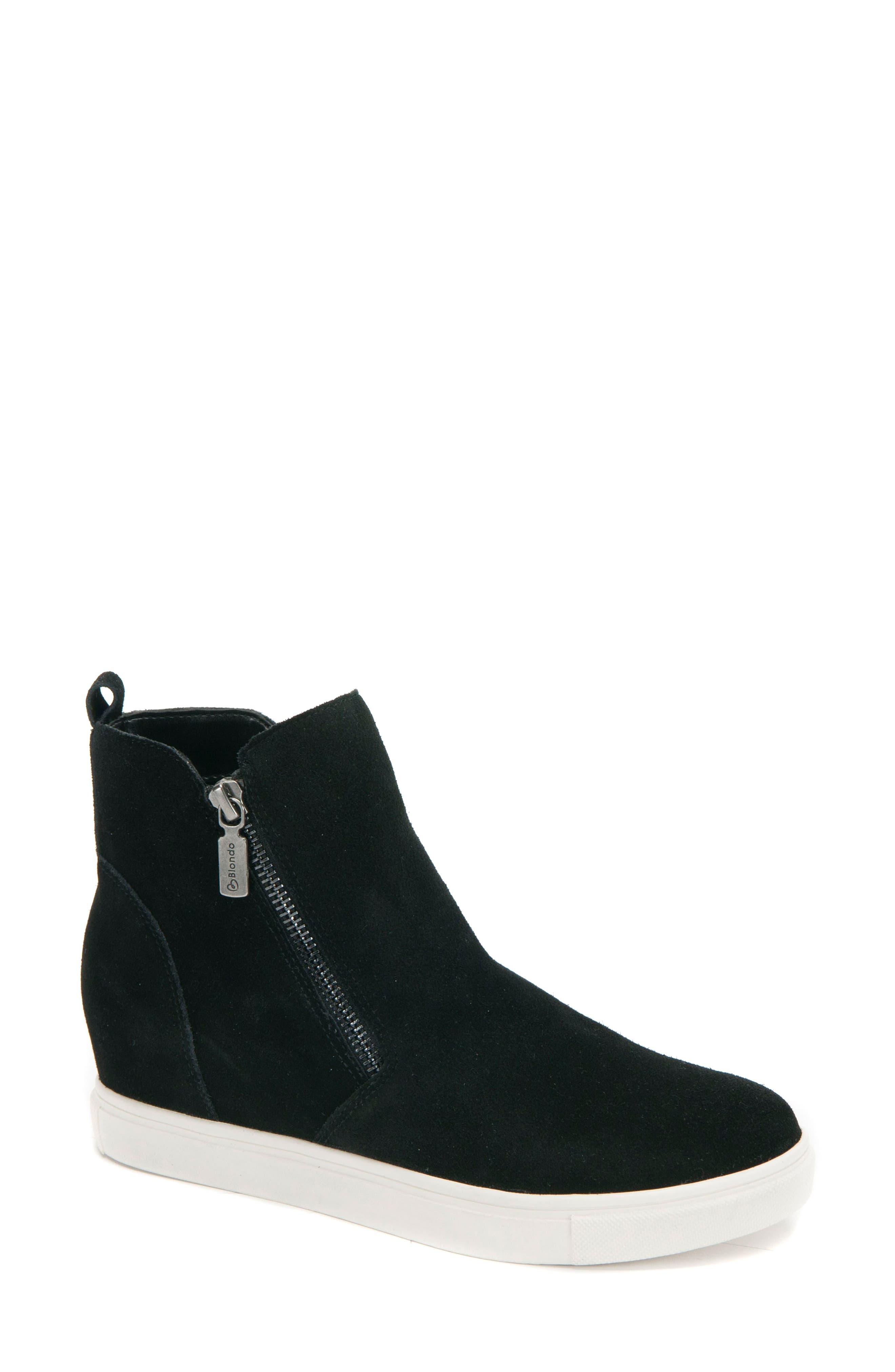 BLONDO, Giselle Waterproof Sneaker, Main thumbnail 1, color, BLACK SUEDE