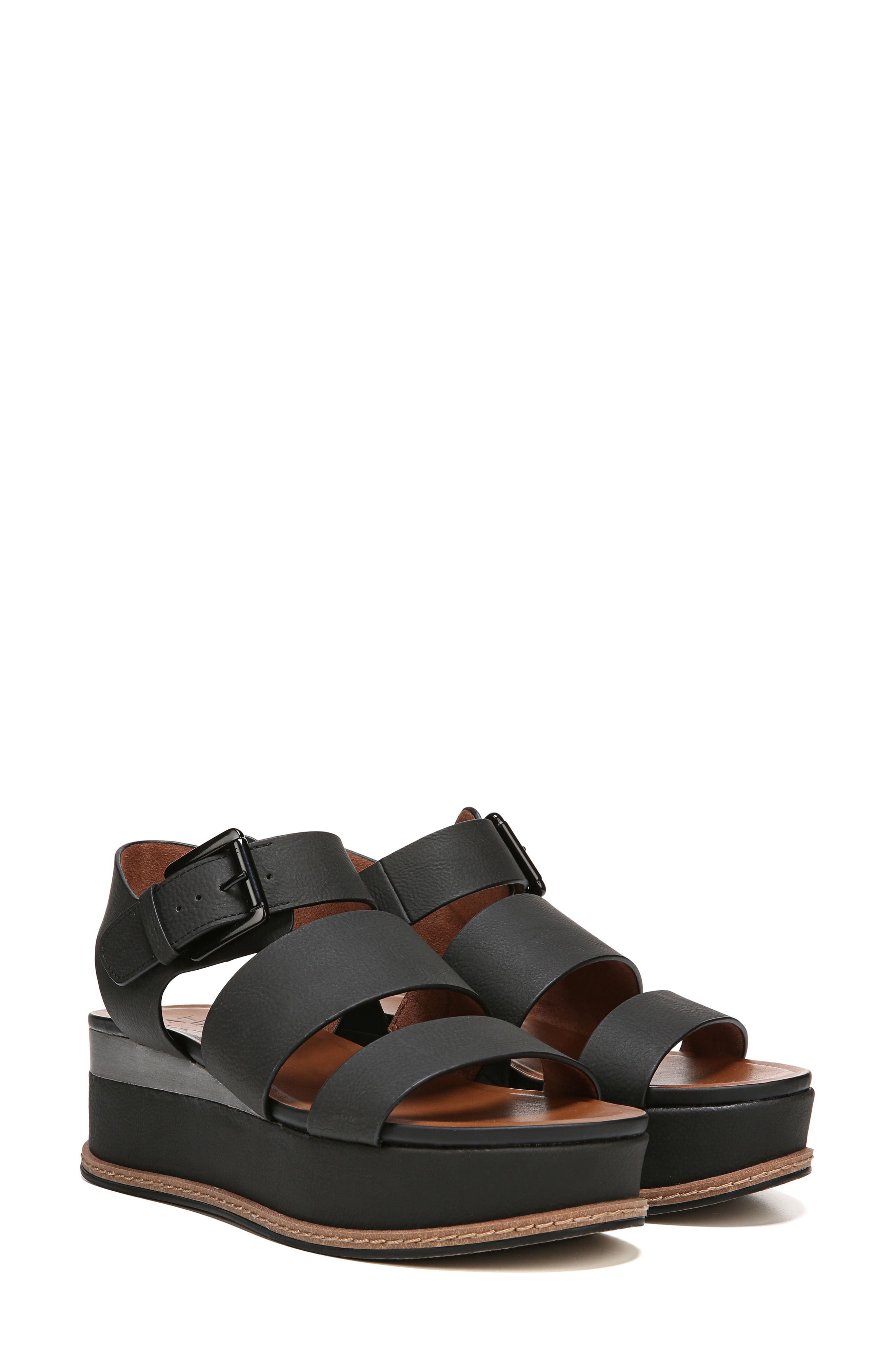 NATURALIZER, Billie Platform Sandal, Alternate thumbnail 8, color, BLACK FAUX NUBUCK LEATHER