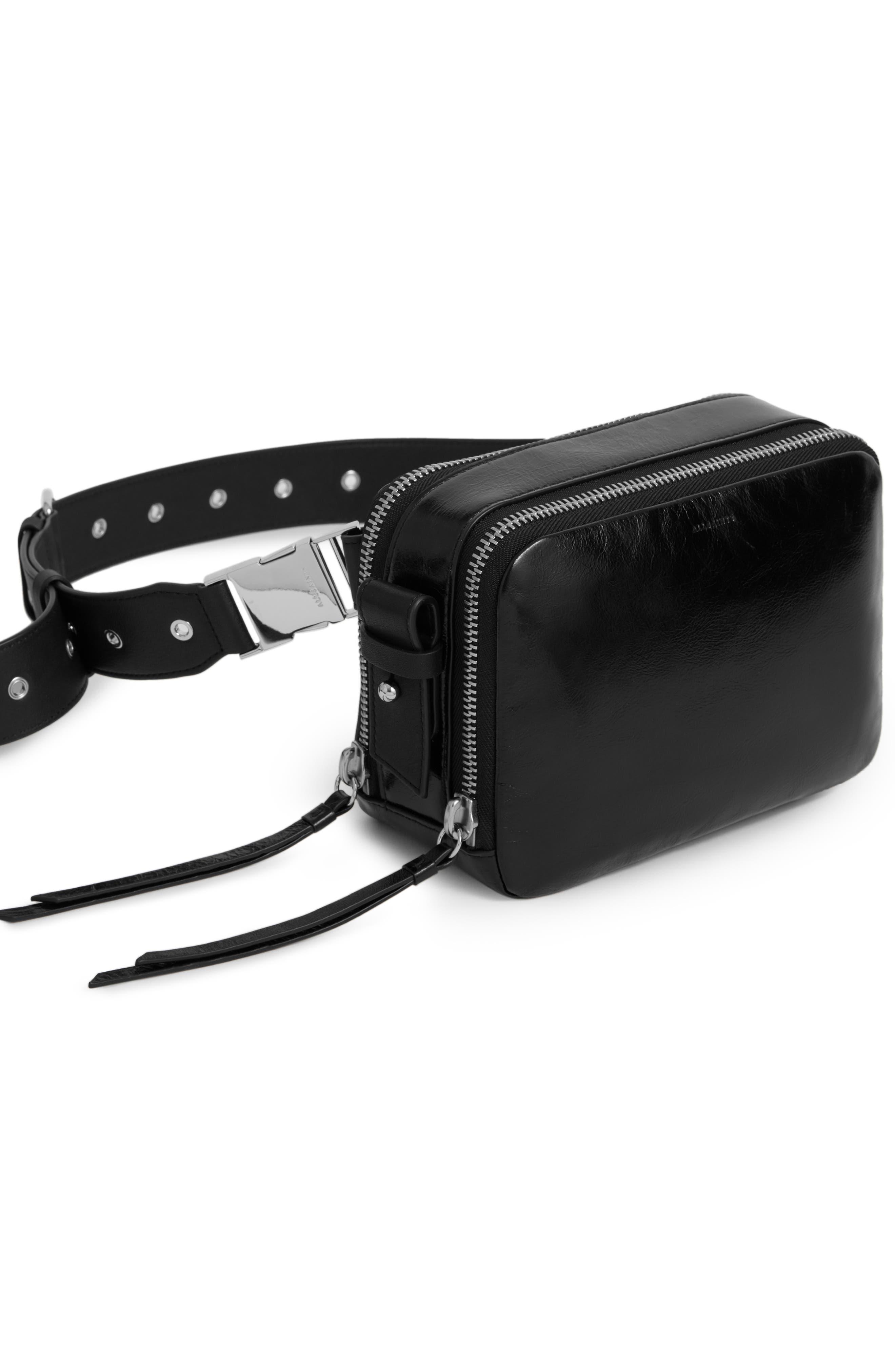 ALLSAINTS, Leather Belt Bag, Alternate thumbnail 5, color, 001