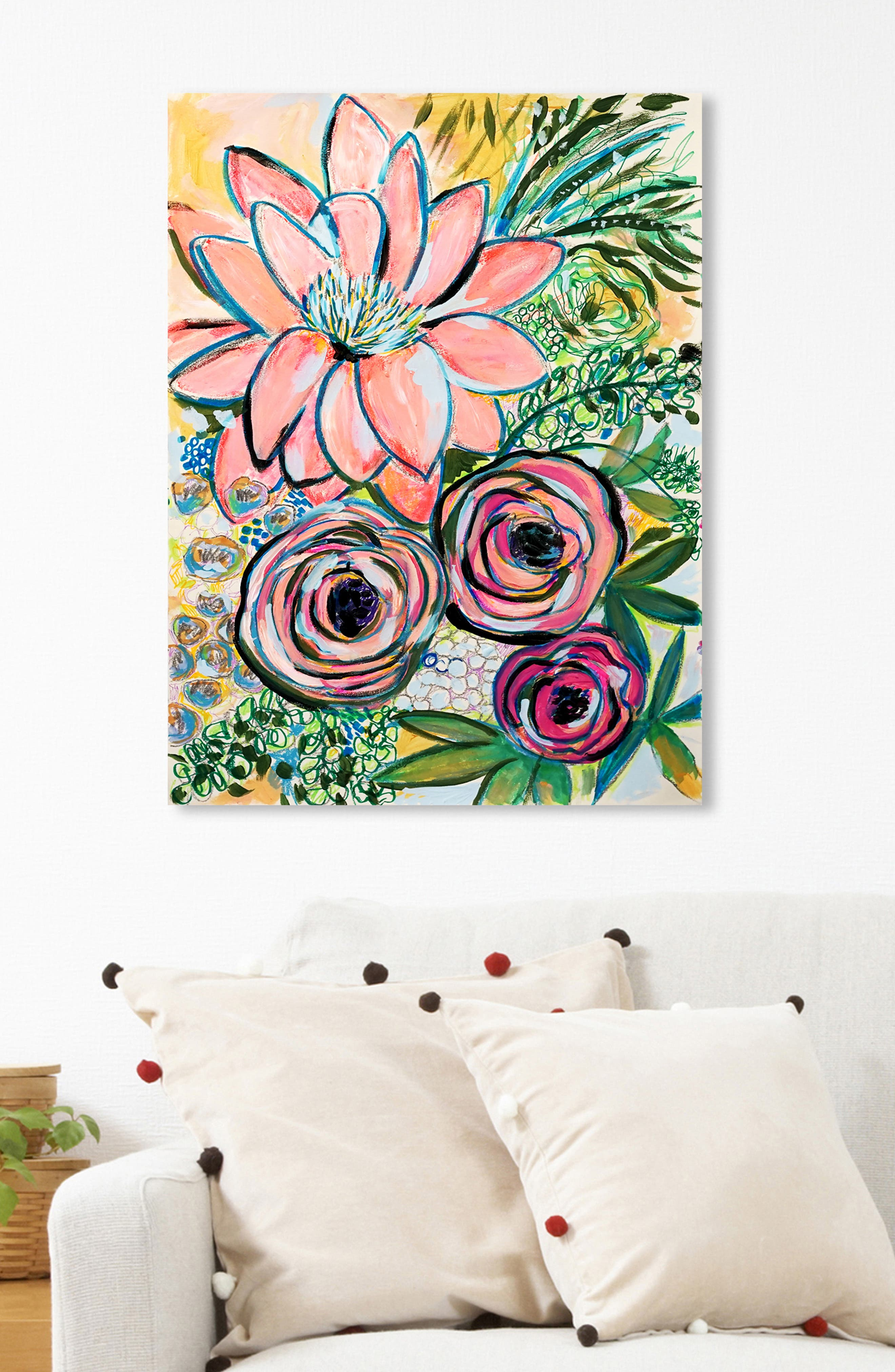 OLIVER GAL, Peonies Party of 2 Canvas Wall Art, Alternate thumbnail 3, color, GREEN PINK