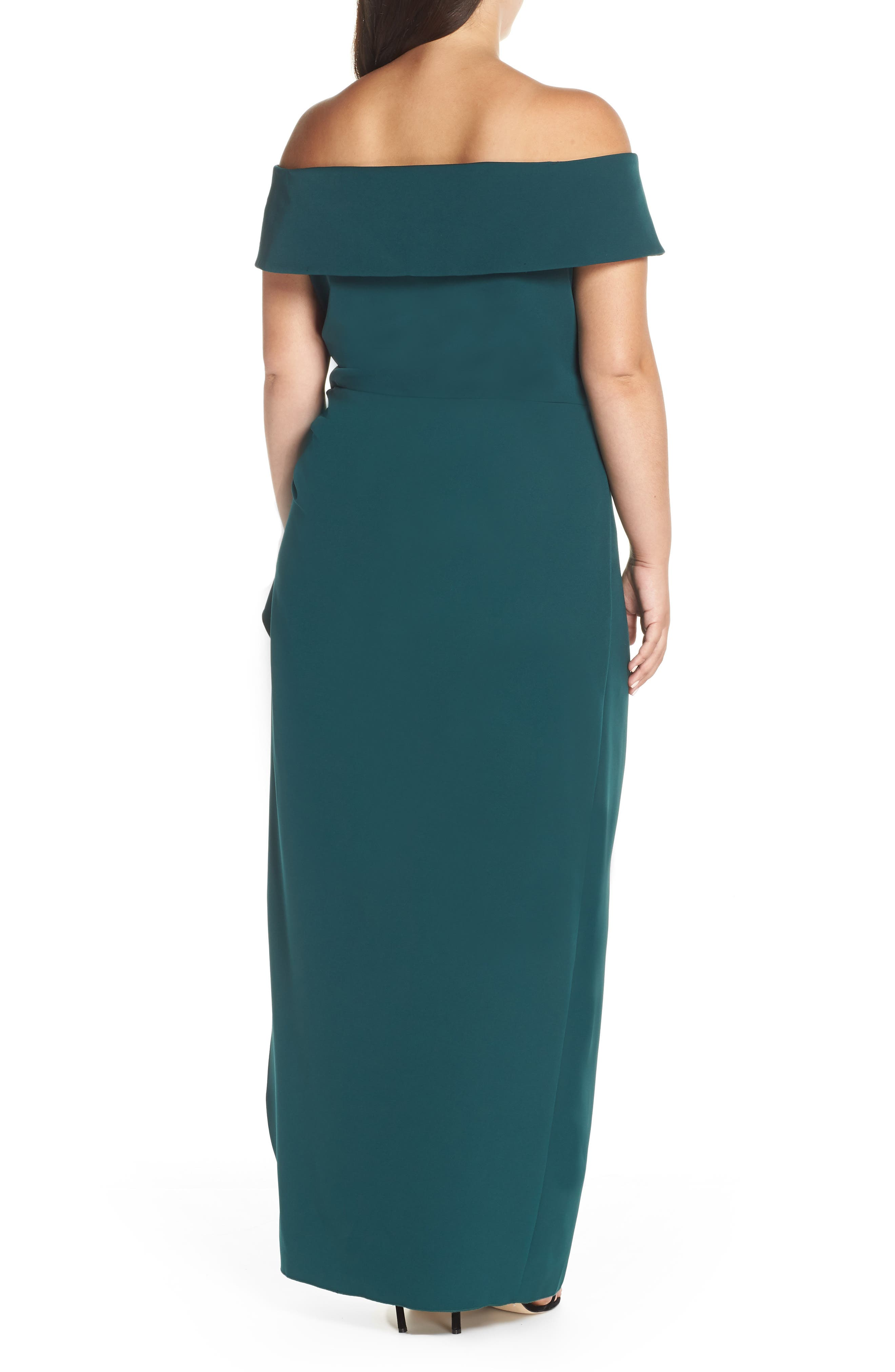 VINCE CAMUTO, Side Ruched Off the Shoulder Gown, Alternate thumbnail 2, color, 301