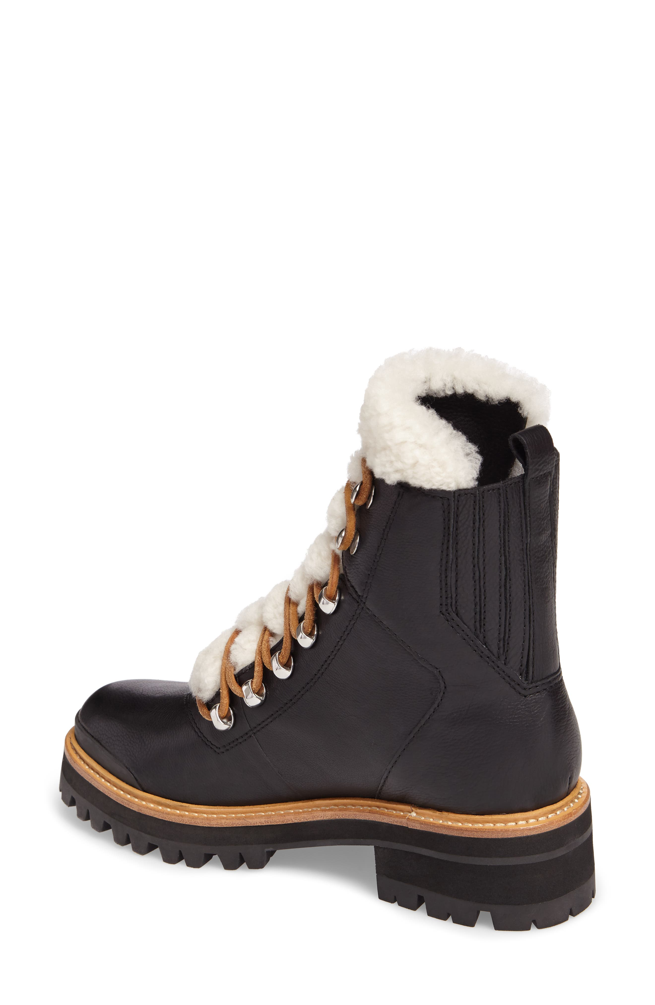 MARC FISHER LTD, Izzie Genuine Shearling Lace-Up Boot, Alternate thumbnail 2, color, BLACK LEATHER