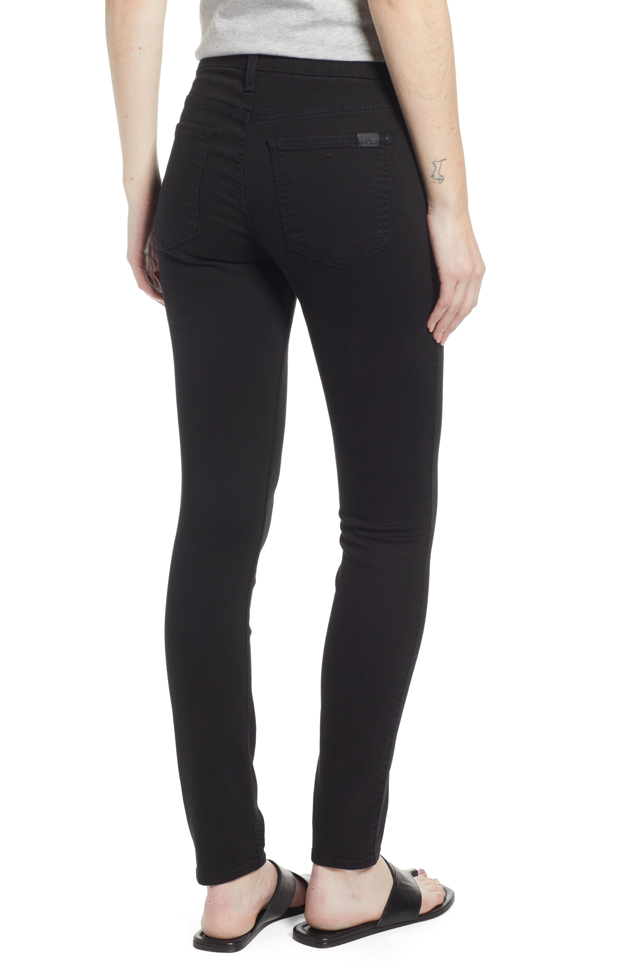 JEN7 BY 7 FOR ALL MANKIND, Skinny Jeans, Alternate thumbnail 2, color, CLASSIC BLACK NOIR