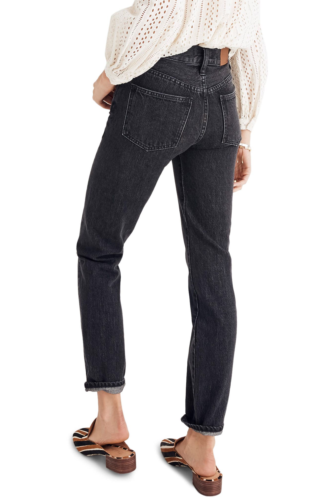 MADEWELL, The Perfect Vintage Ripped Knee Jeans, Alternate thumbnail 2, color, ROXSTONE