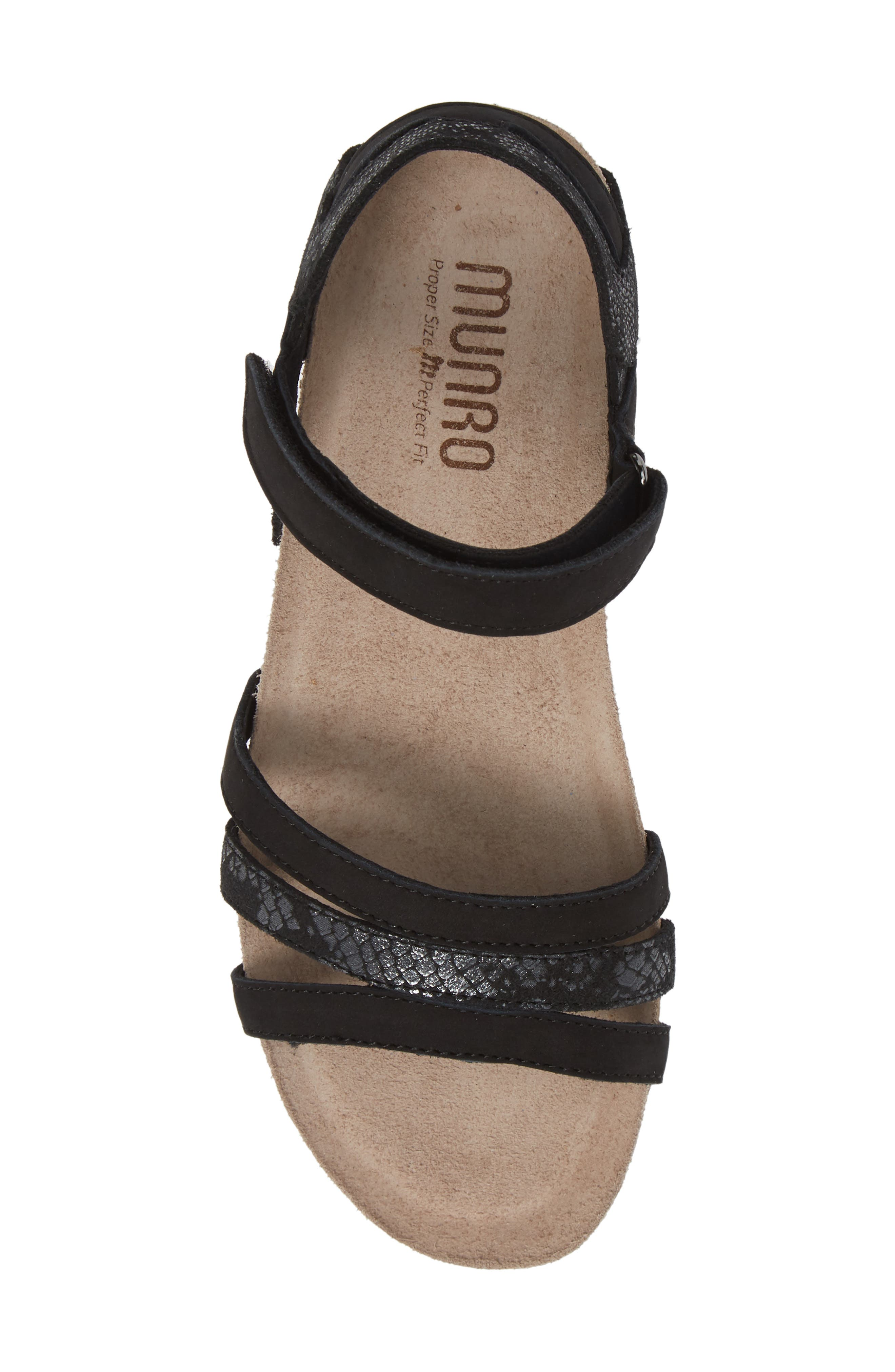MUNRO, Summer Sandal, Alternate thumbnail 5, color, BLACK COMBO NUBUCK